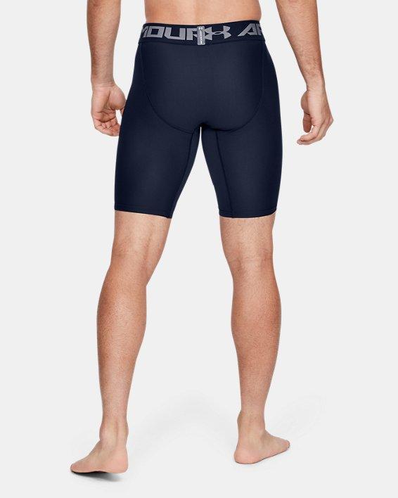 Men's HeatGear® Armour Long Compression Shorts, Navy, pdpMainDesktop image number 3