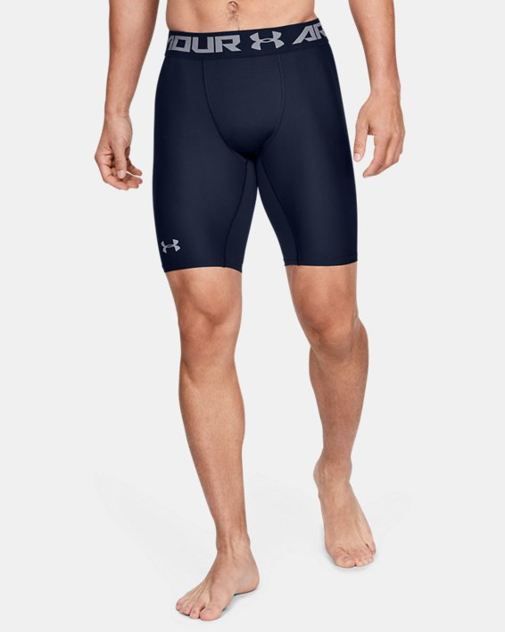 Men's HeatGear® Armour Long Compression Shorts, Navy, pdpMainDesktop image number 0