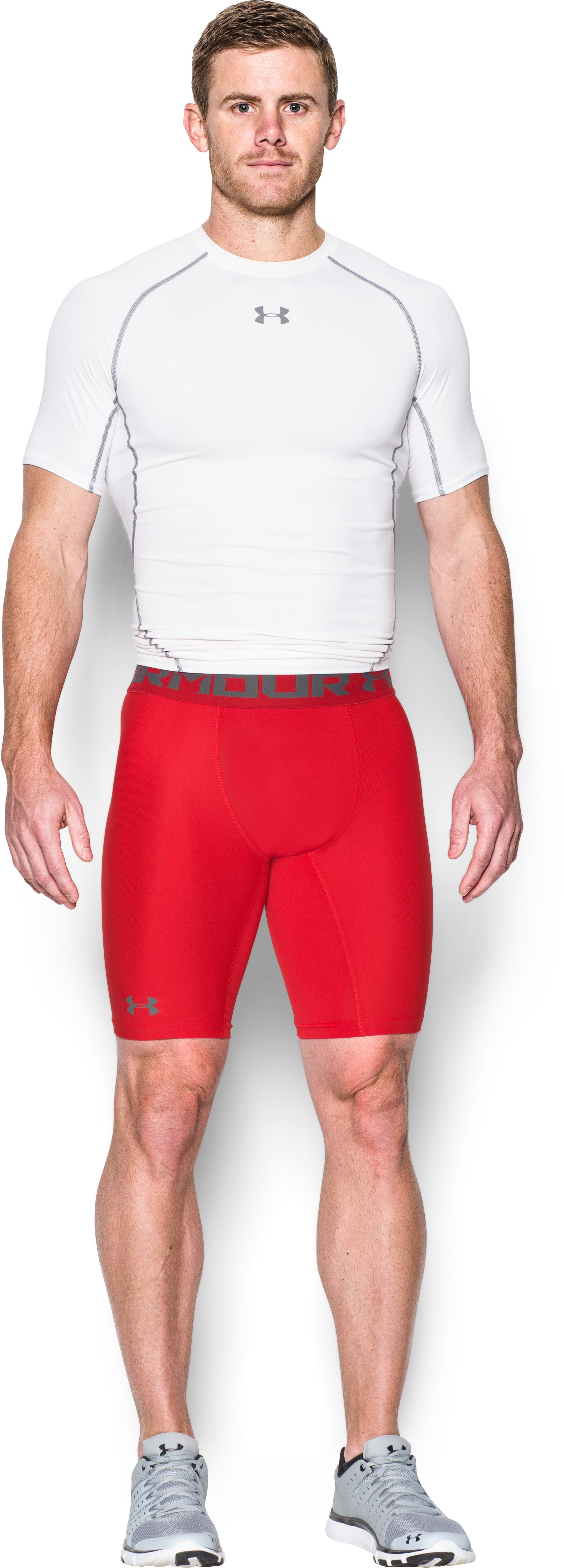 Men's HeatGear® Armour Long Compression Shorts, Red, Front