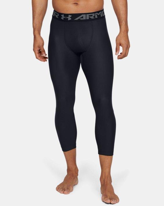 Men's HeatGear® Armour Compression ¾ Leggings, Black, pdpMainDesktop image number 0