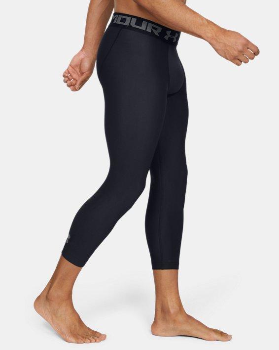 Men's HeatGear® Armour Compression ¾ Leggings, Black, pdpMainDesktop image number 4