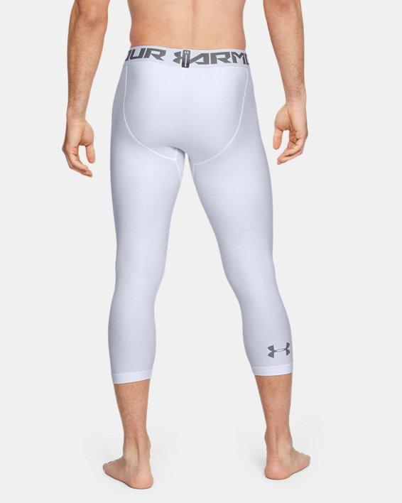 Men's HeatGear® Armour Compression ¾ Leggings, White, pdpMainDesktop image number 3
