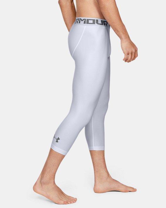 Men's HeatGear® Armour Compression ¾ Leggings, White, pdpMainDesktop image number 4