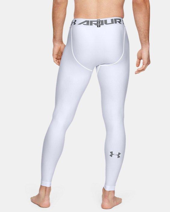 Men's HeatGear® Armour Compression Leggings, White, pdpMainDesktop image number 3
