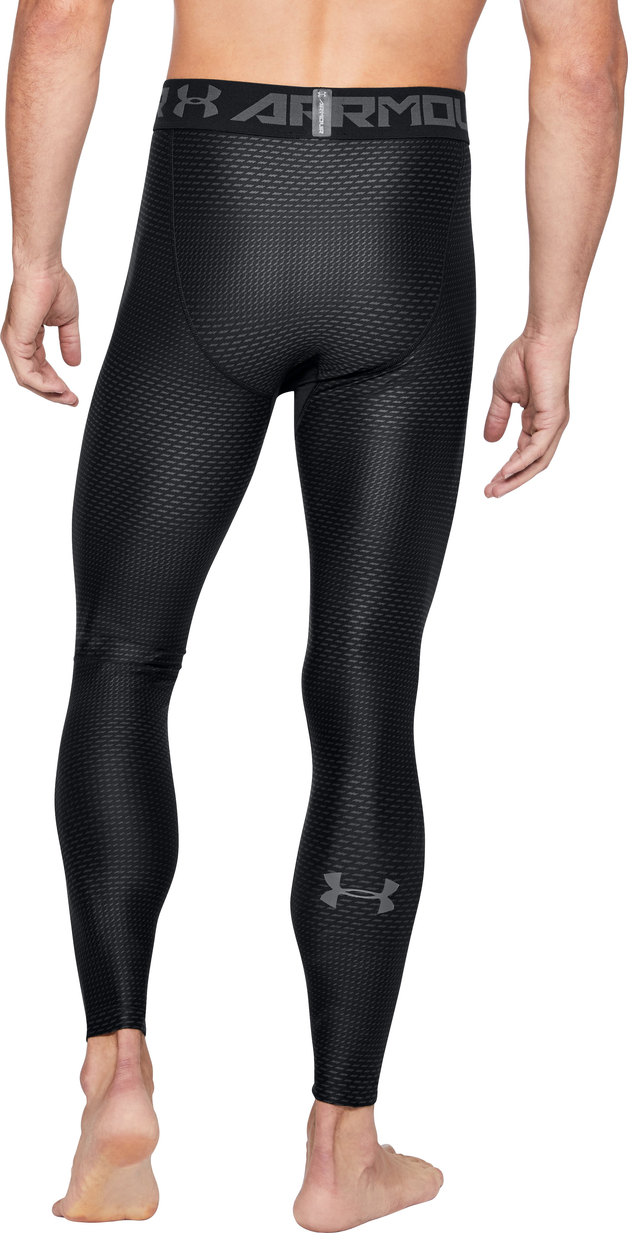 Men's HeatGear® Armour Printed Compression Leggings, Black , undefined