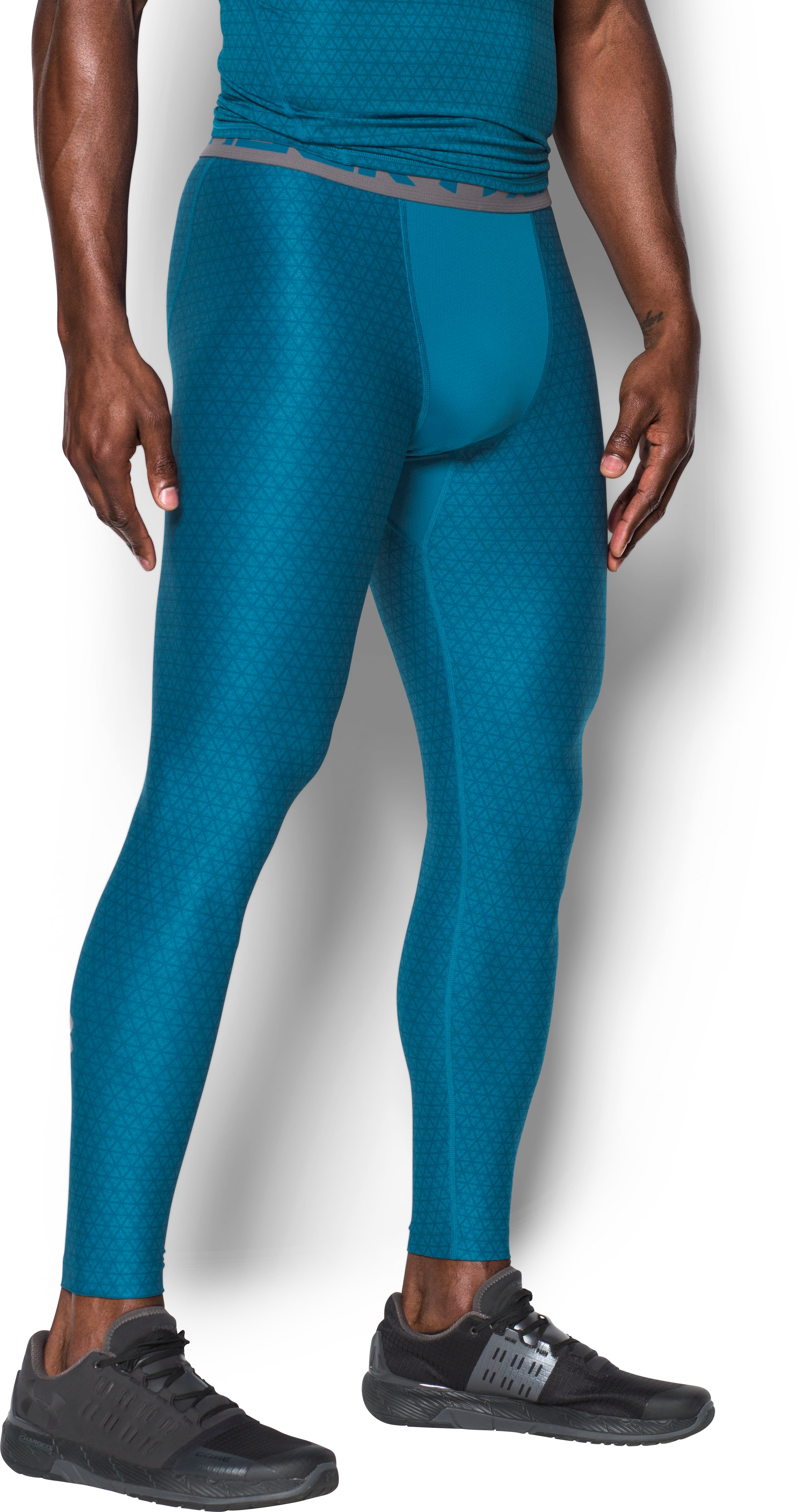 Men's HeatGear® Armour Printed Compression Leggings, BAYOU BLUE,