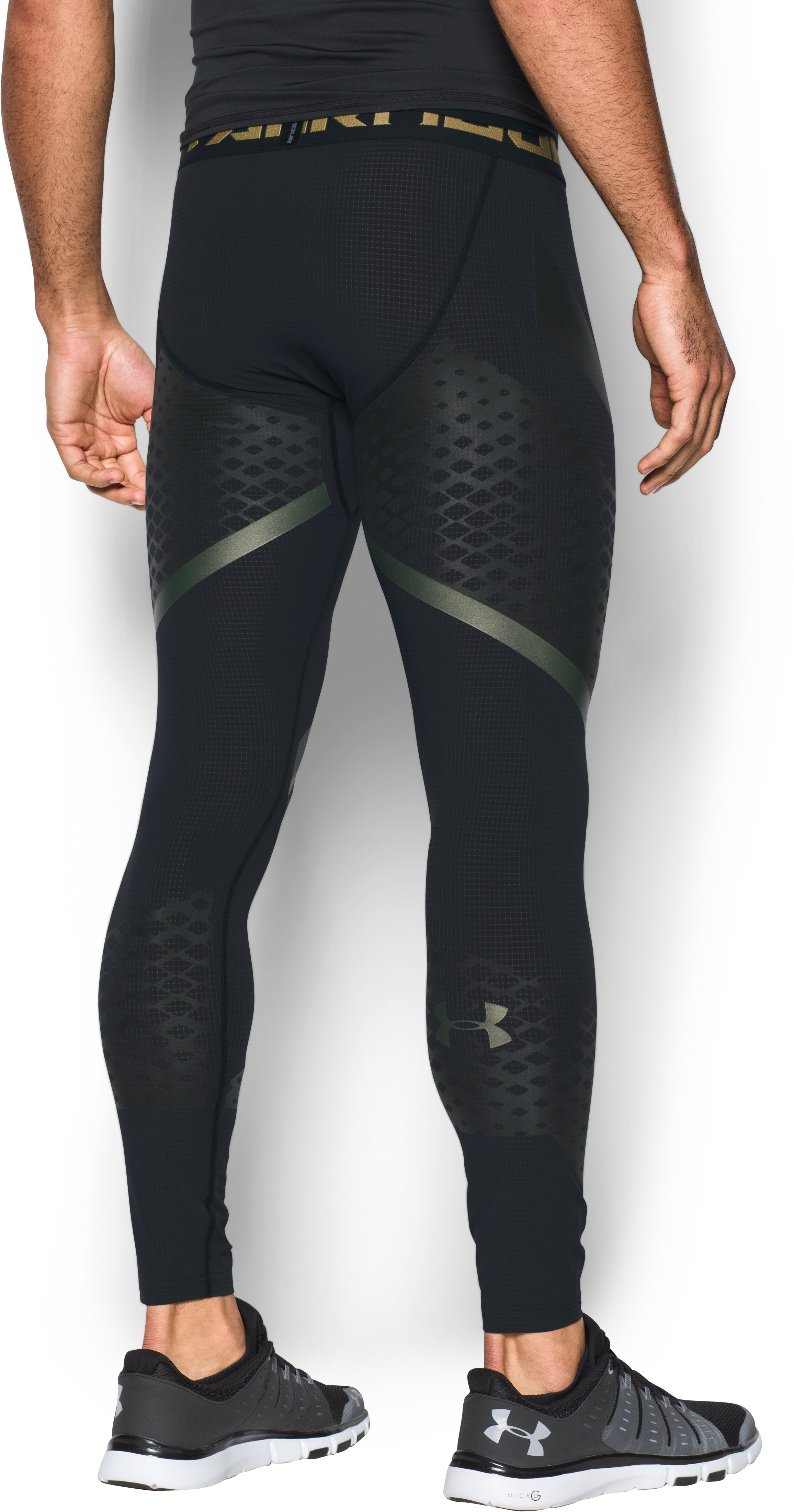 Men's HeatGear® Armour Zone Compression Leggings, Black , undefined