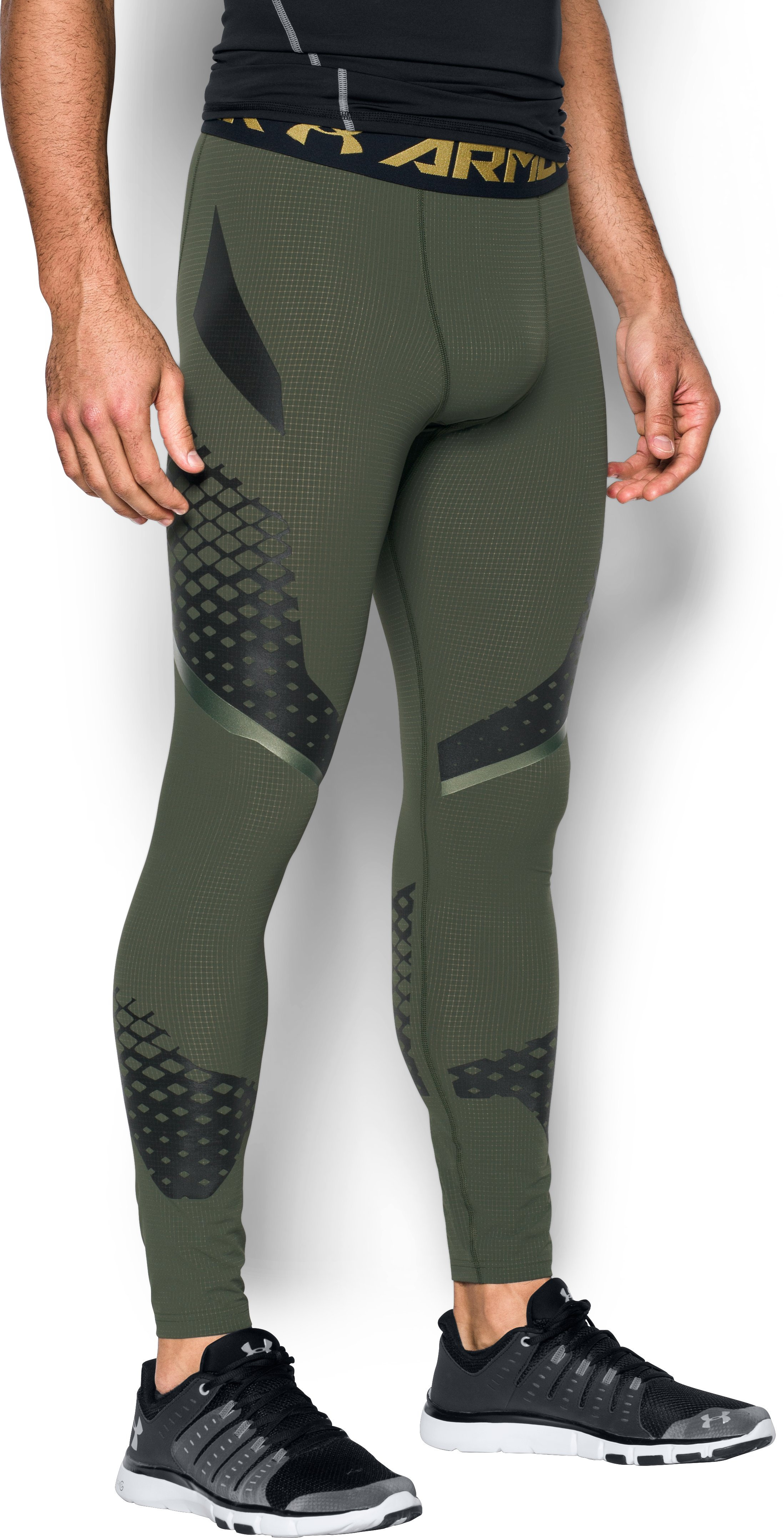 Men's HeatGear® Armour Zone Compression Leggings, DOWNTOWN GREEN