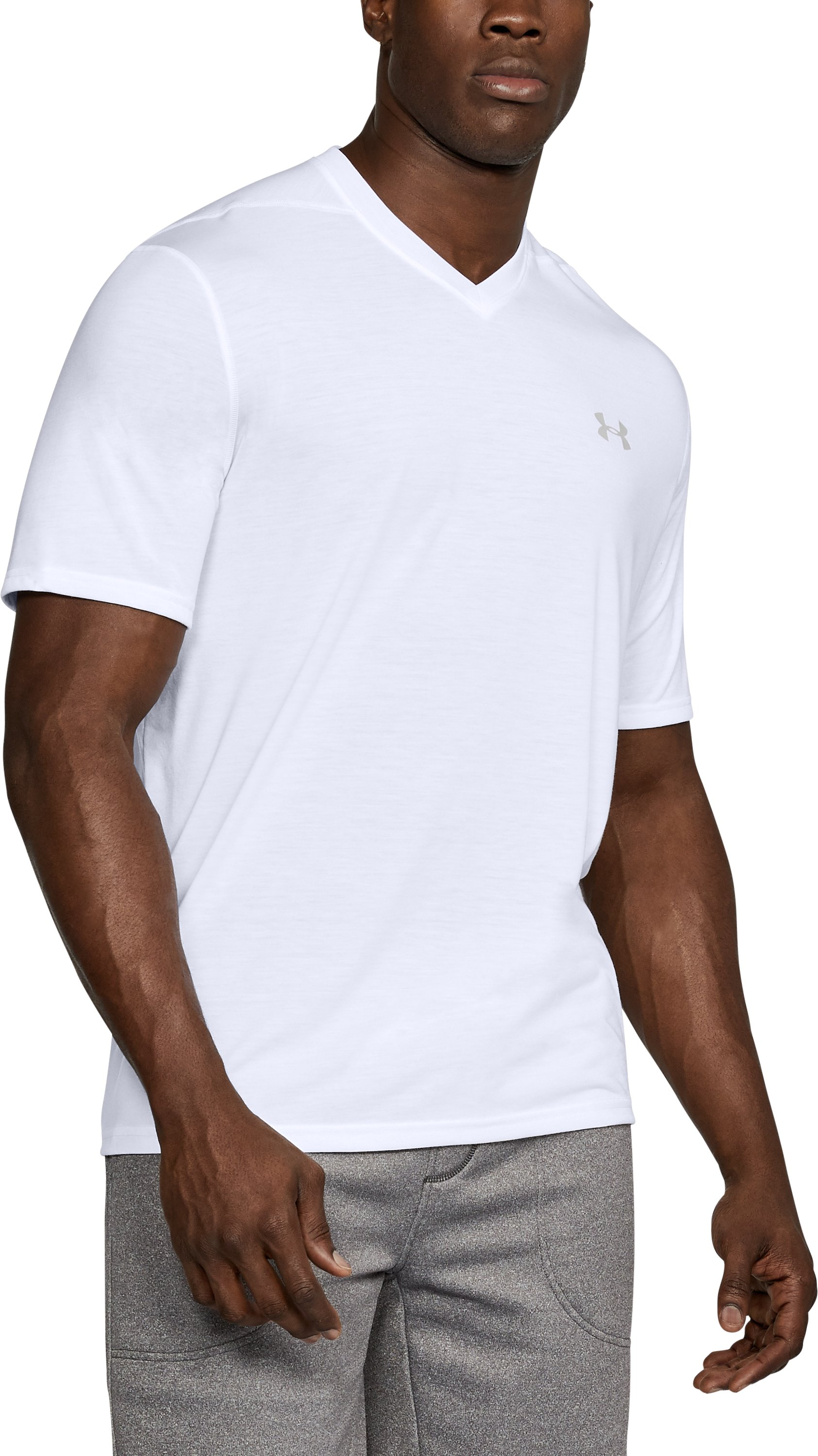 Men's UA Threadborne Siro V-Neck T-Shirt, White