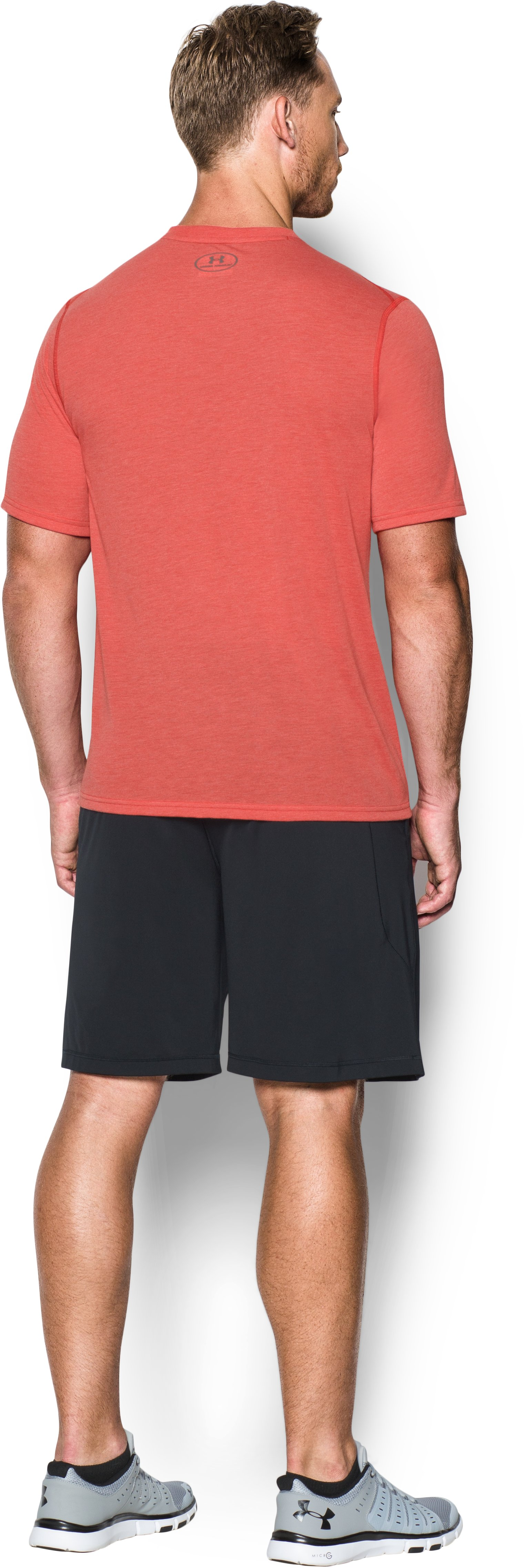 Men's UA Threadborne Siro V-Neck T-Shirt, Red, Back