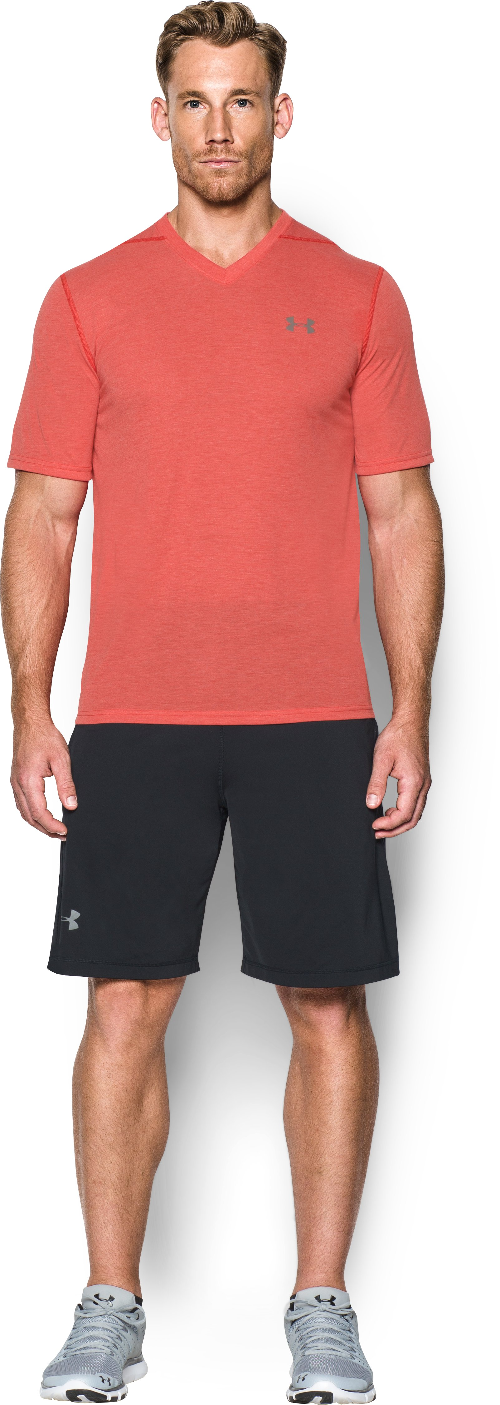 Men's UA Threadborne Siro V-Neck T-Shirt, Red, Front