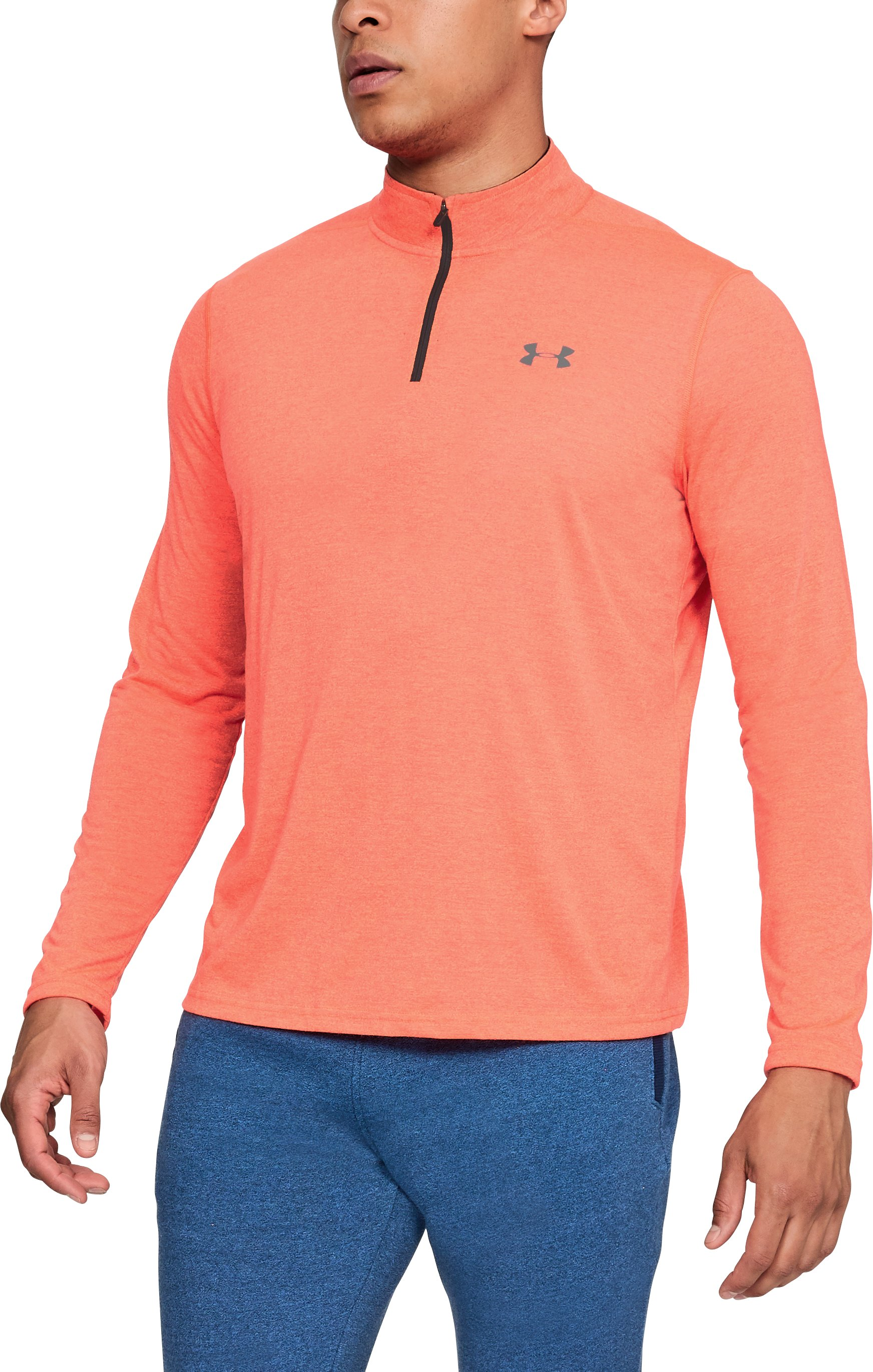 Men's UA Threadborne Siro ¼ Zip, NEON CORAL