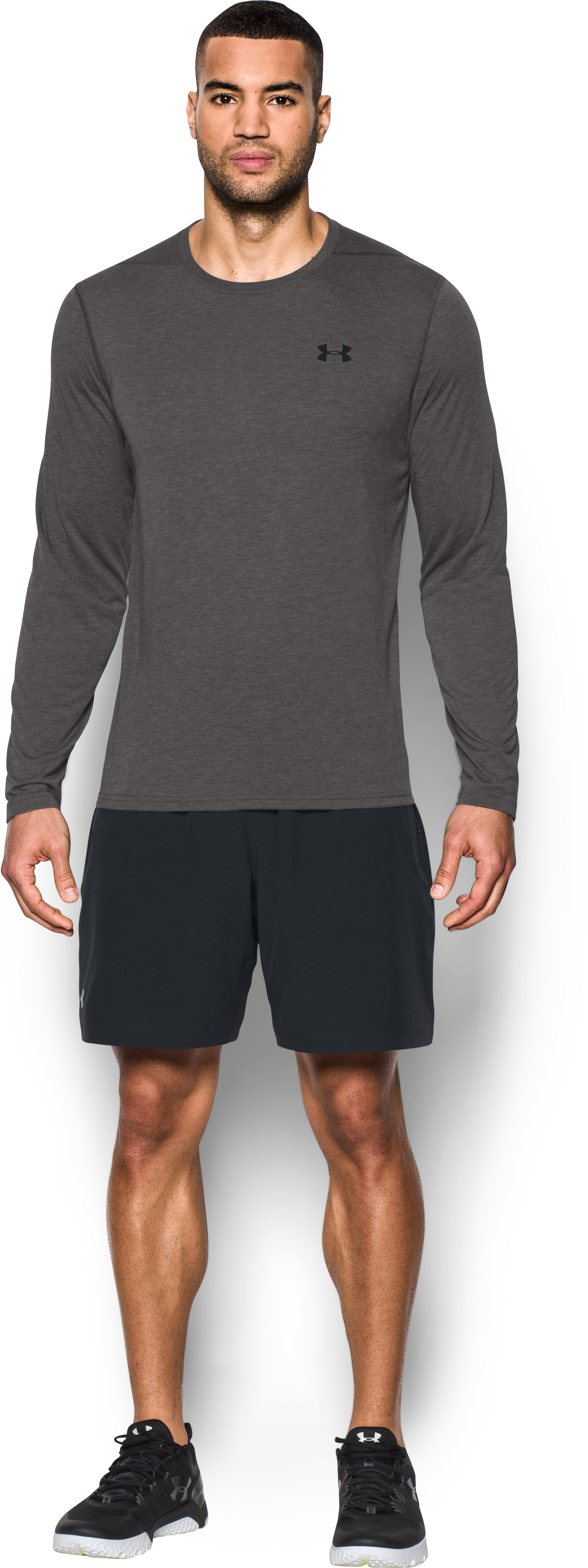 Men's UA Threadborne Siro Long Sleeve T-Shirt, Carbon Heather, Front