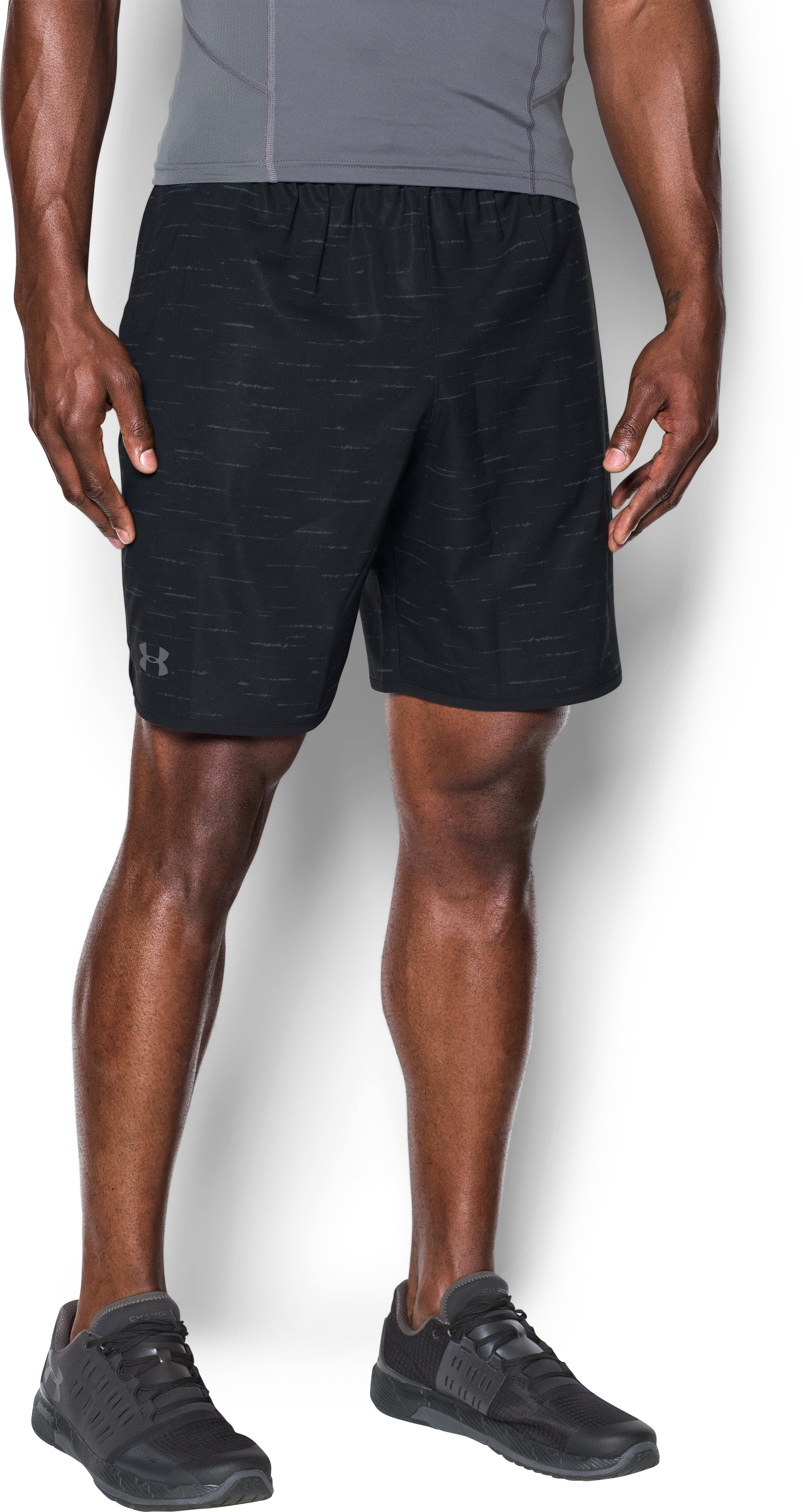 Men's UA Qualifier Printed Shorts, Black , undefined