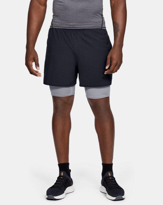 Short UA Qualifier 2-in-1 pour homme, Black, pdpMainDesktop image number 0