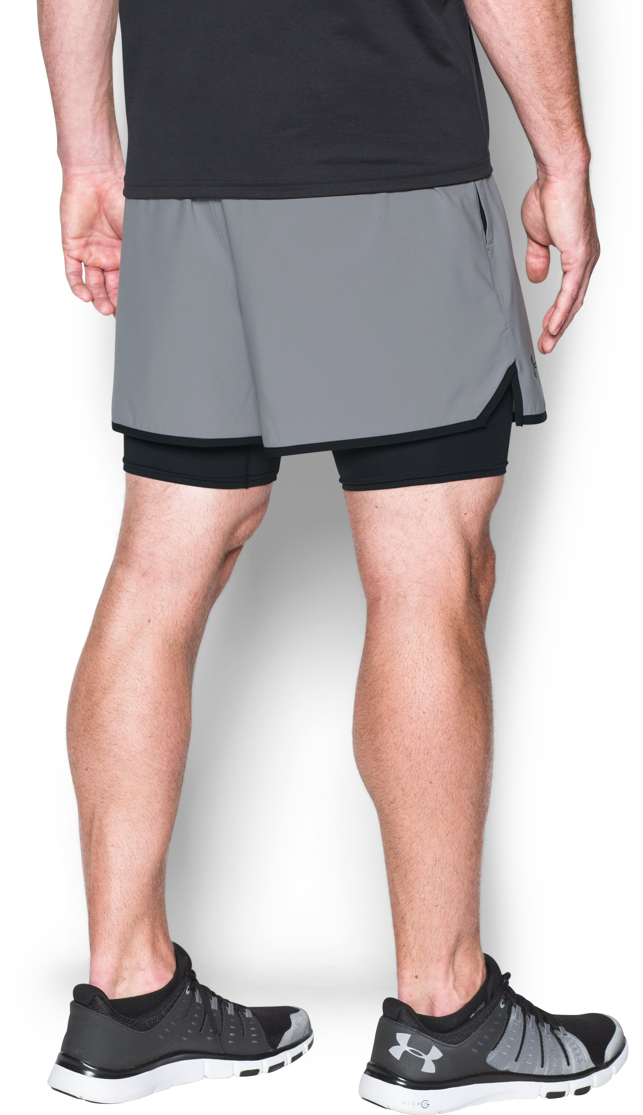 Men's UA Qualifier 2-in-1 Shorts, Steel, undefined