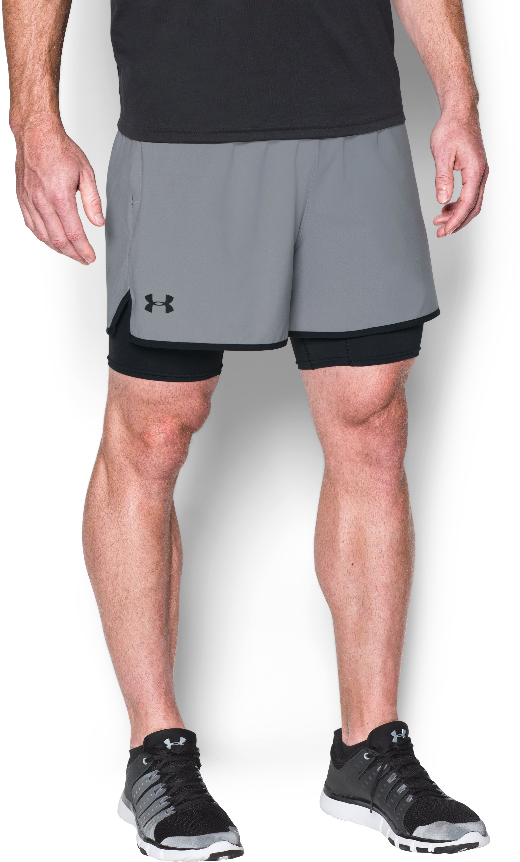 Men's UA Qualifier 2-in-1 Shorts, Steel