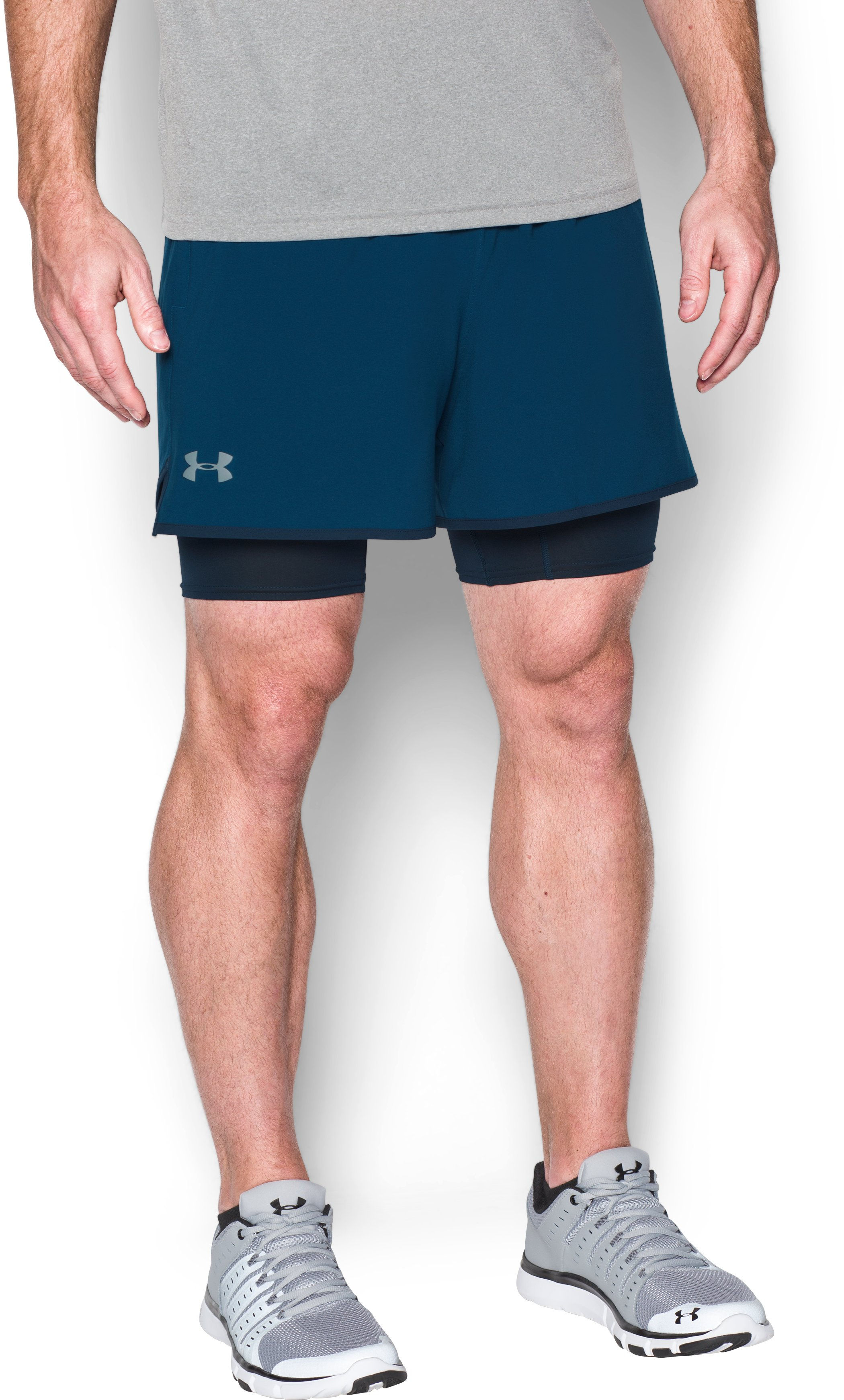 Men's UA Qualifier 2-in-1 Shorts, BLACKOUT NAVY