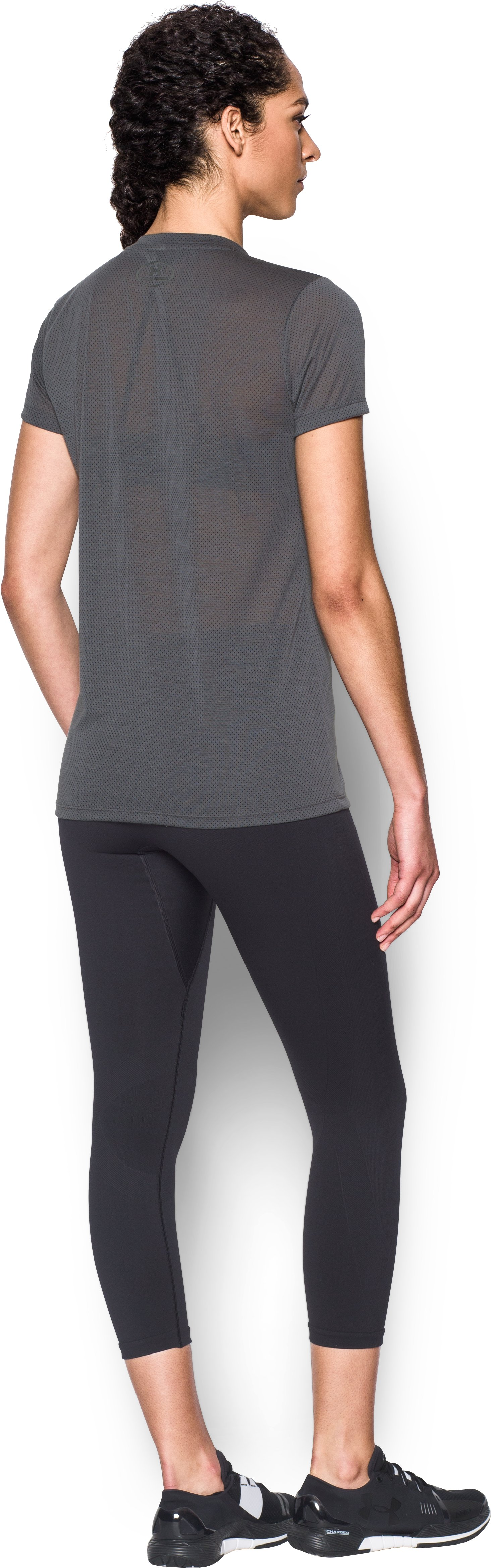 Women's UA Threadborne Train Pointelle V-Neck, RHINO GRAY, Back