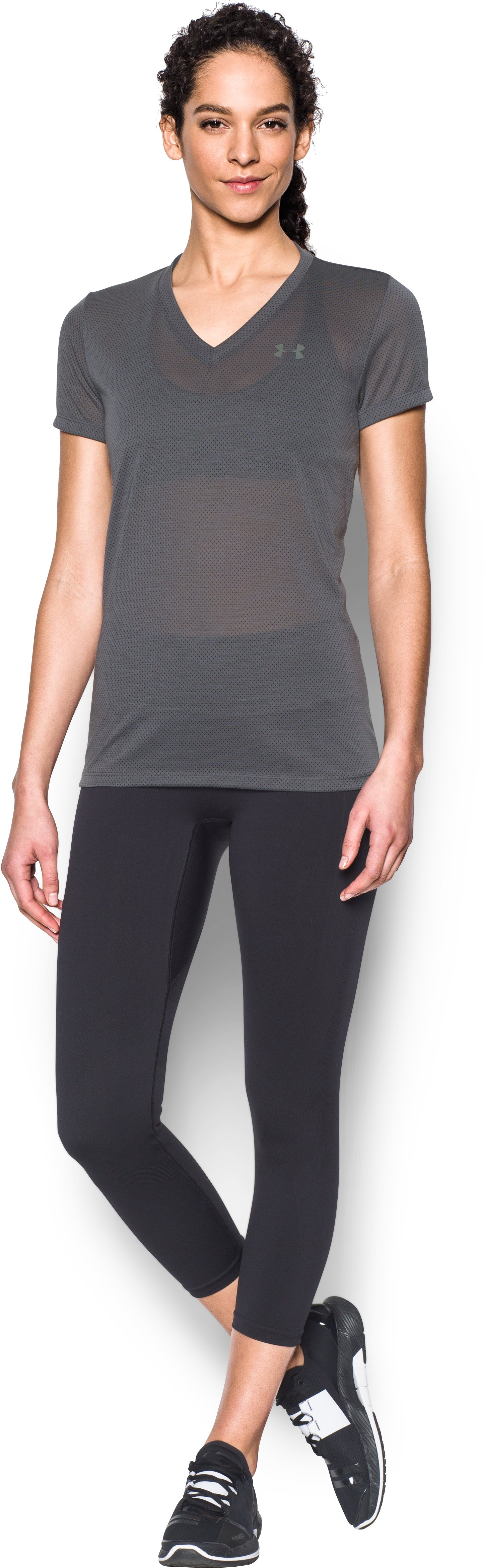 Women's UA Threadborne Train Pointelle V-Neck, RHINO GRAY, Front