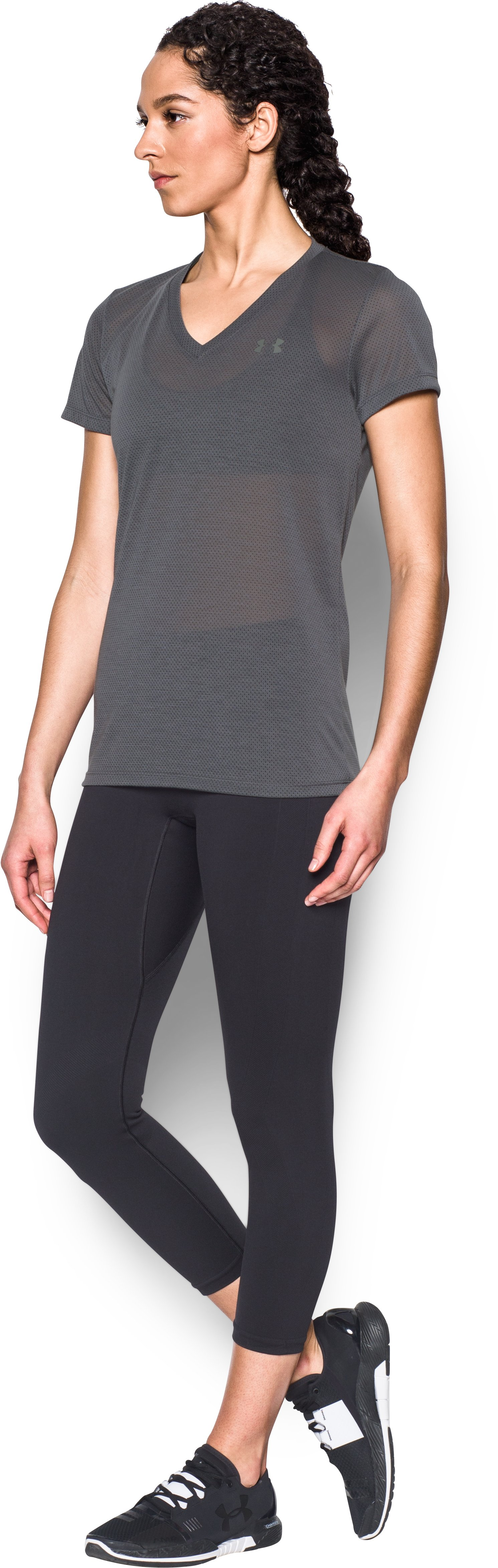 Women's UA Threadborne Train Pointelle V-Neck, RHINO GRAY