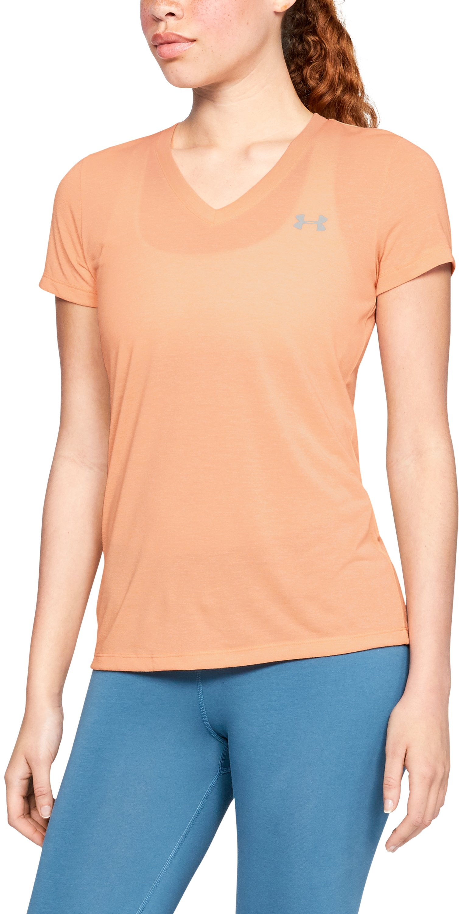 Women's UA Threadborne Train Twist V-Neck, PEACH HORIZON