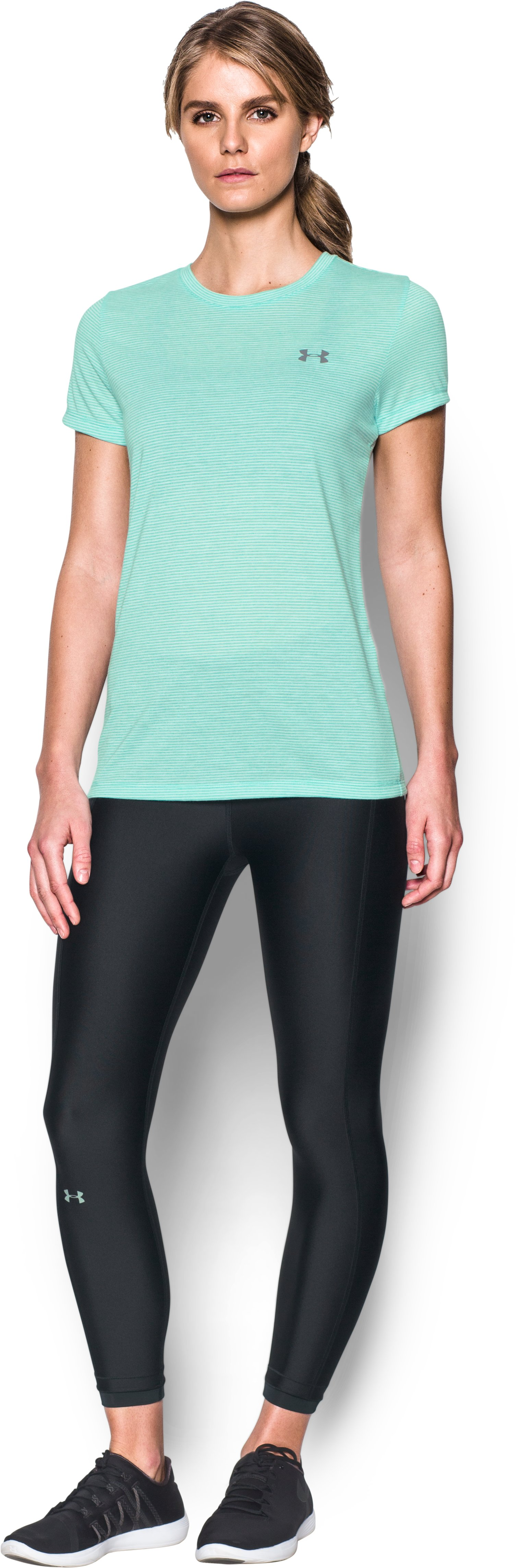 Women's UA Threadborne Train Stripe Crew, ABSINTHE GREEN