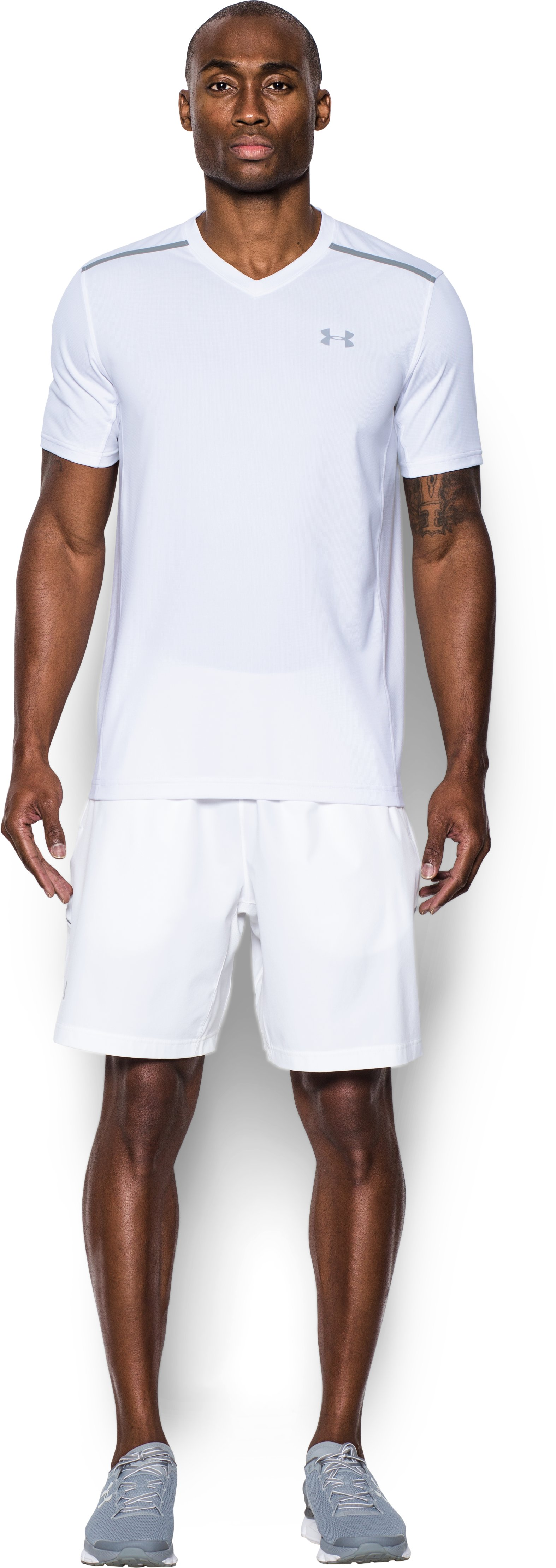 Men's UA Threadborne Center Court V-Neck, White, Front