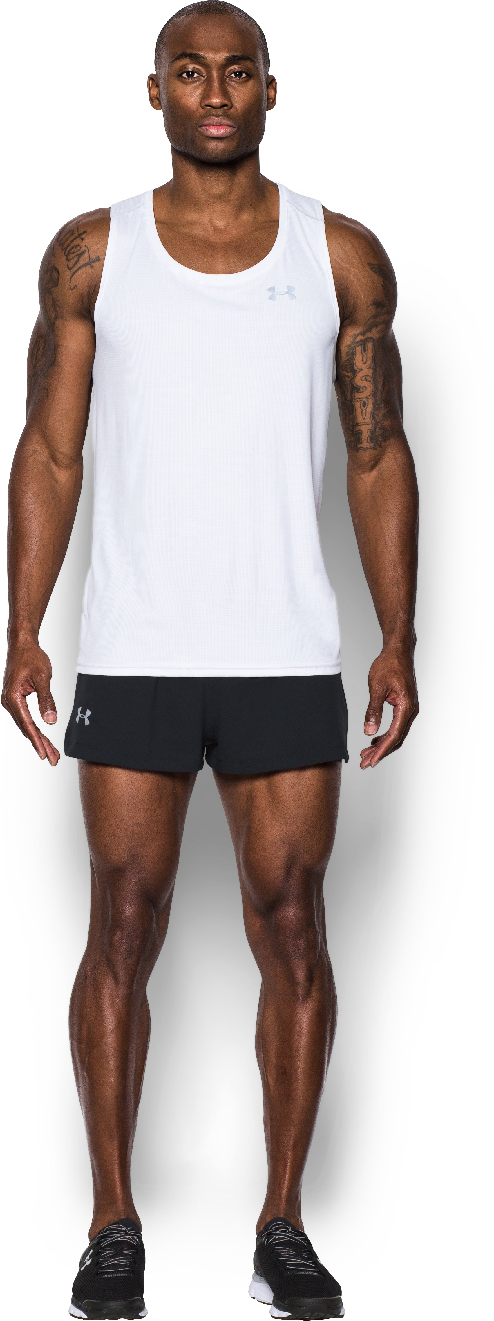 Men's UA Launch Split Shorts, Black , Front
