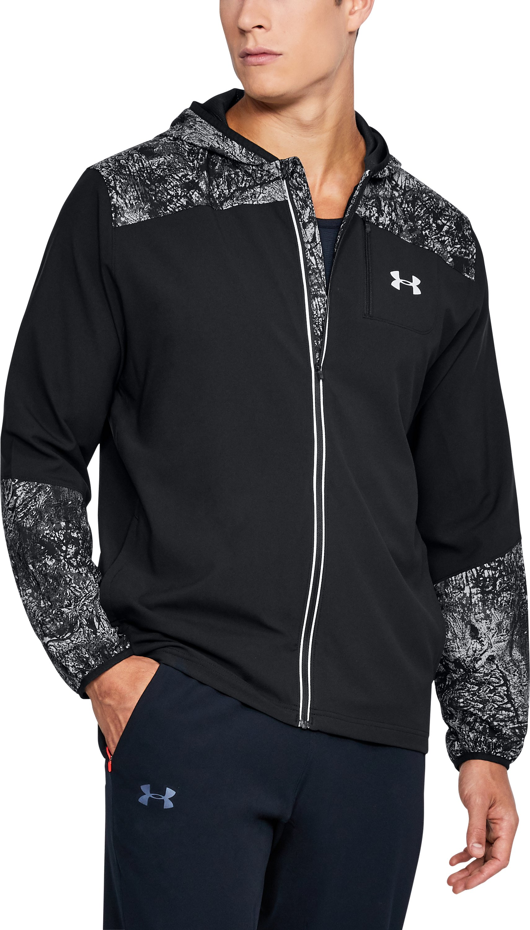 Men's UA Storm Run Printed Jacket, Black , undefined