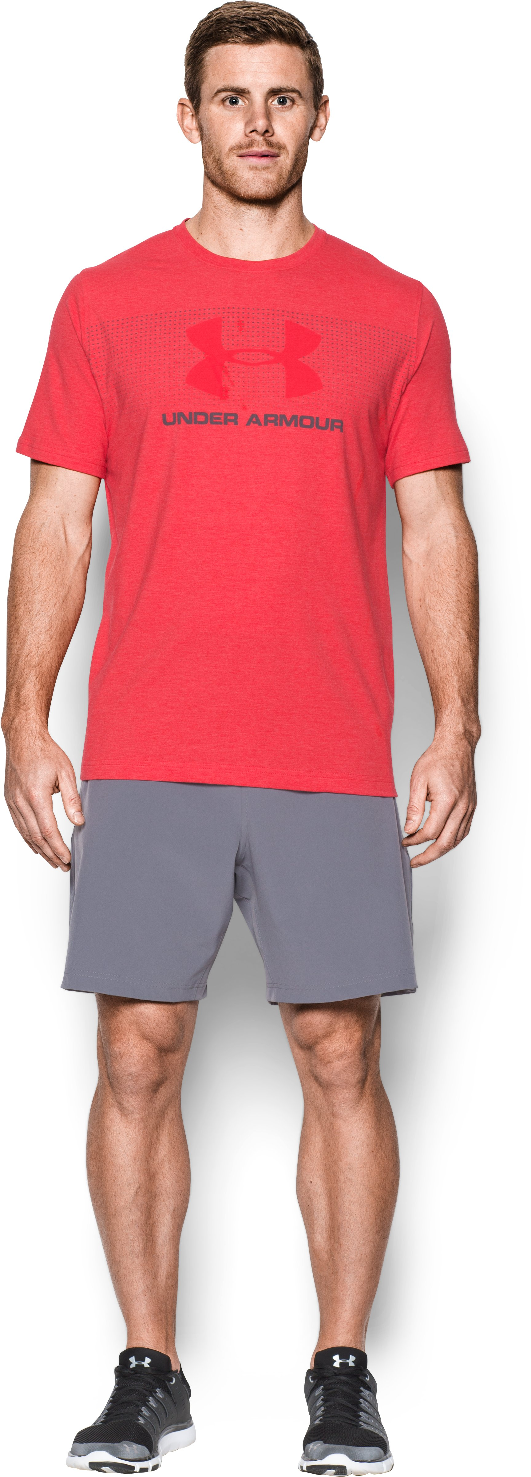 Men's UA Sportstyle KO T-Shirt, RED MEDIUM HEATHER, Front