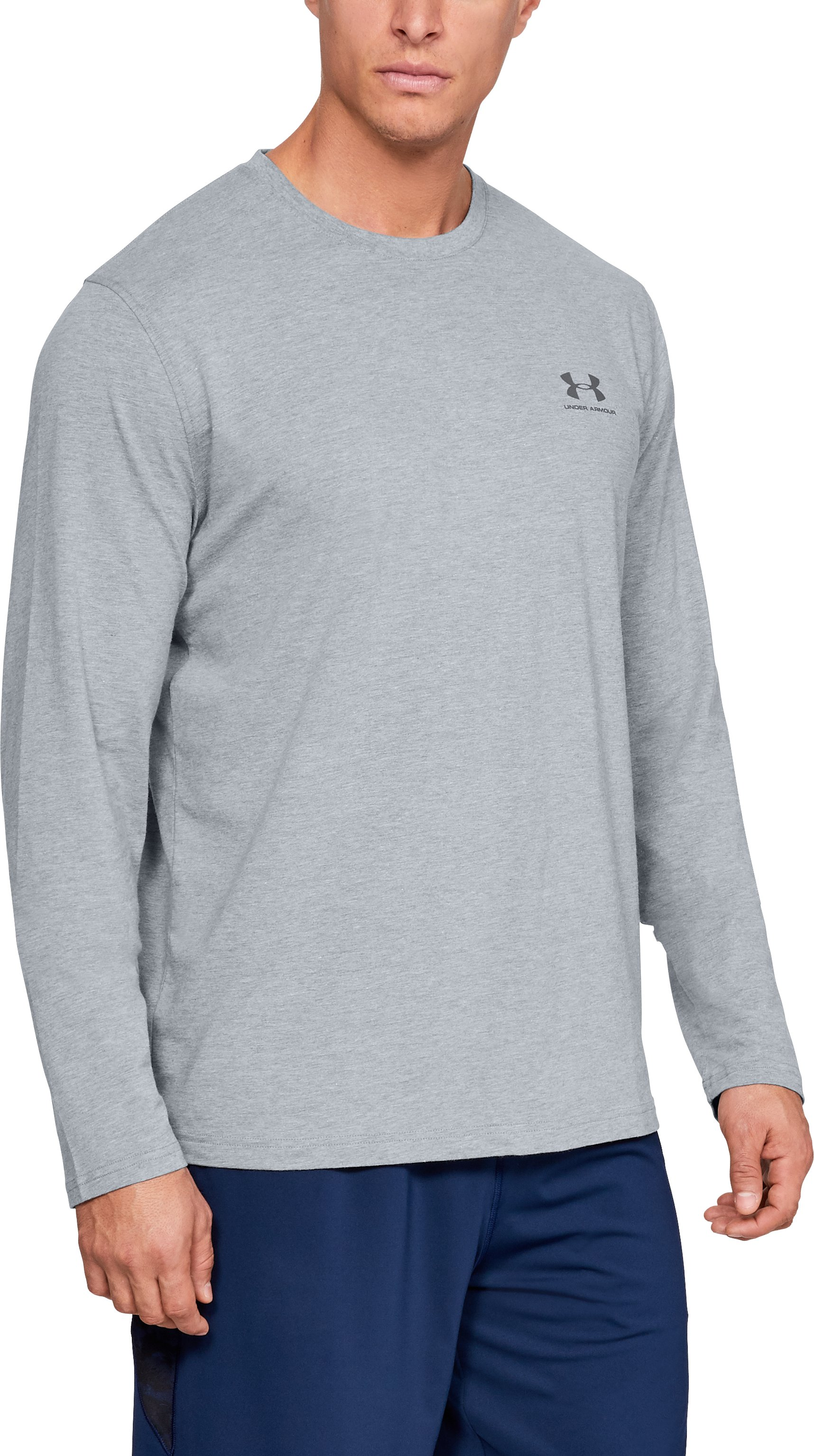 Men's UA Chest Logo Long Sleeve T-Shirt , STEEL LIGHT HEATHER