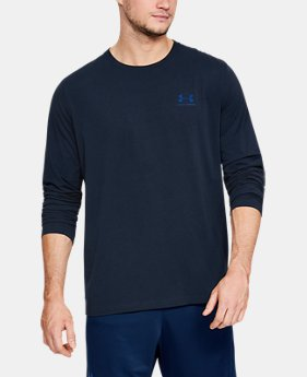 Best Seller Men's UA Chest Logo Long Sleeve T-Shirt   5  Colors Available $29.99