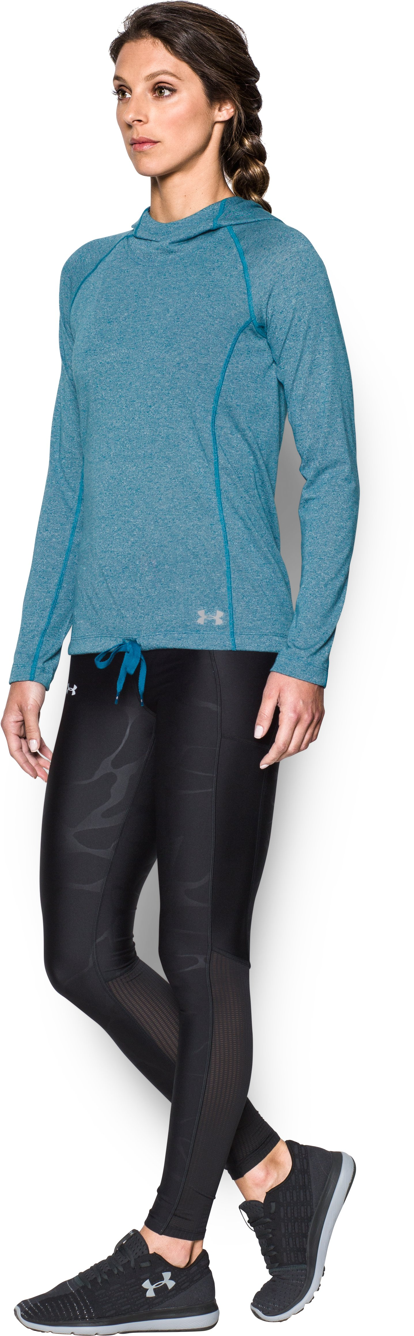 Women's UA Threadborne Train Twist Hoodie, BAYOU BLUE,