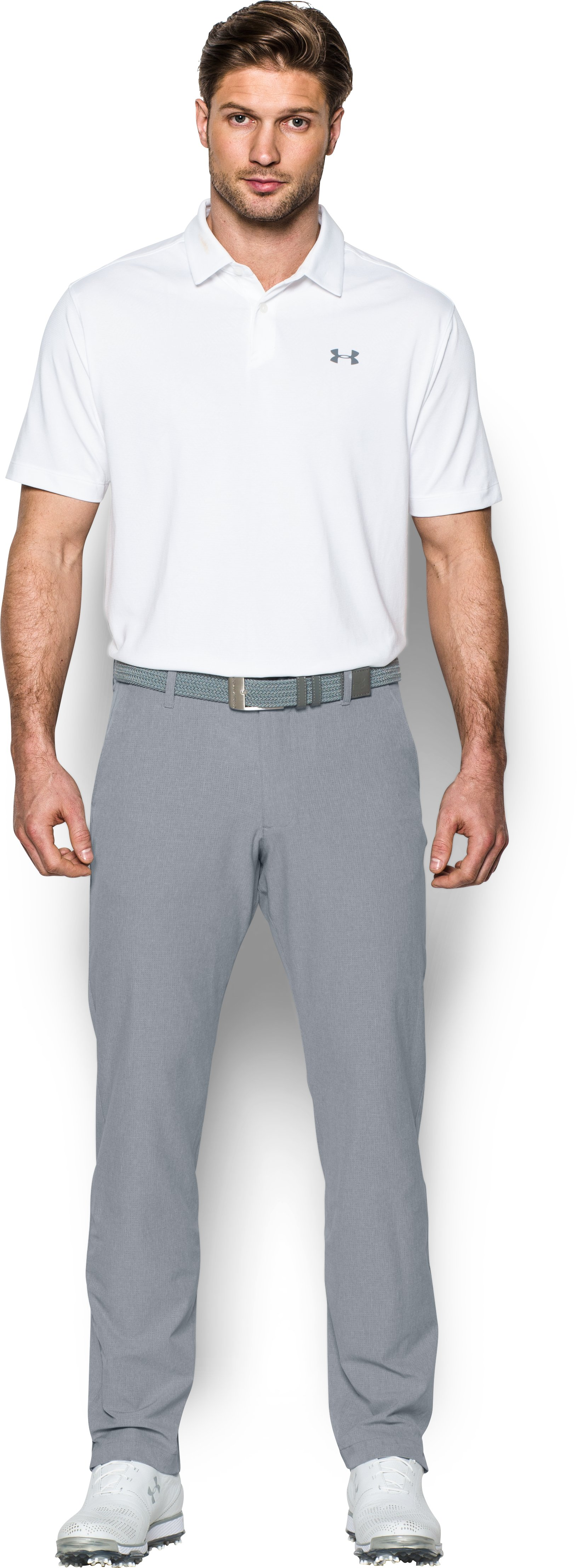 Men's UA Match Play Vented Tapered Pants, Steel, Front