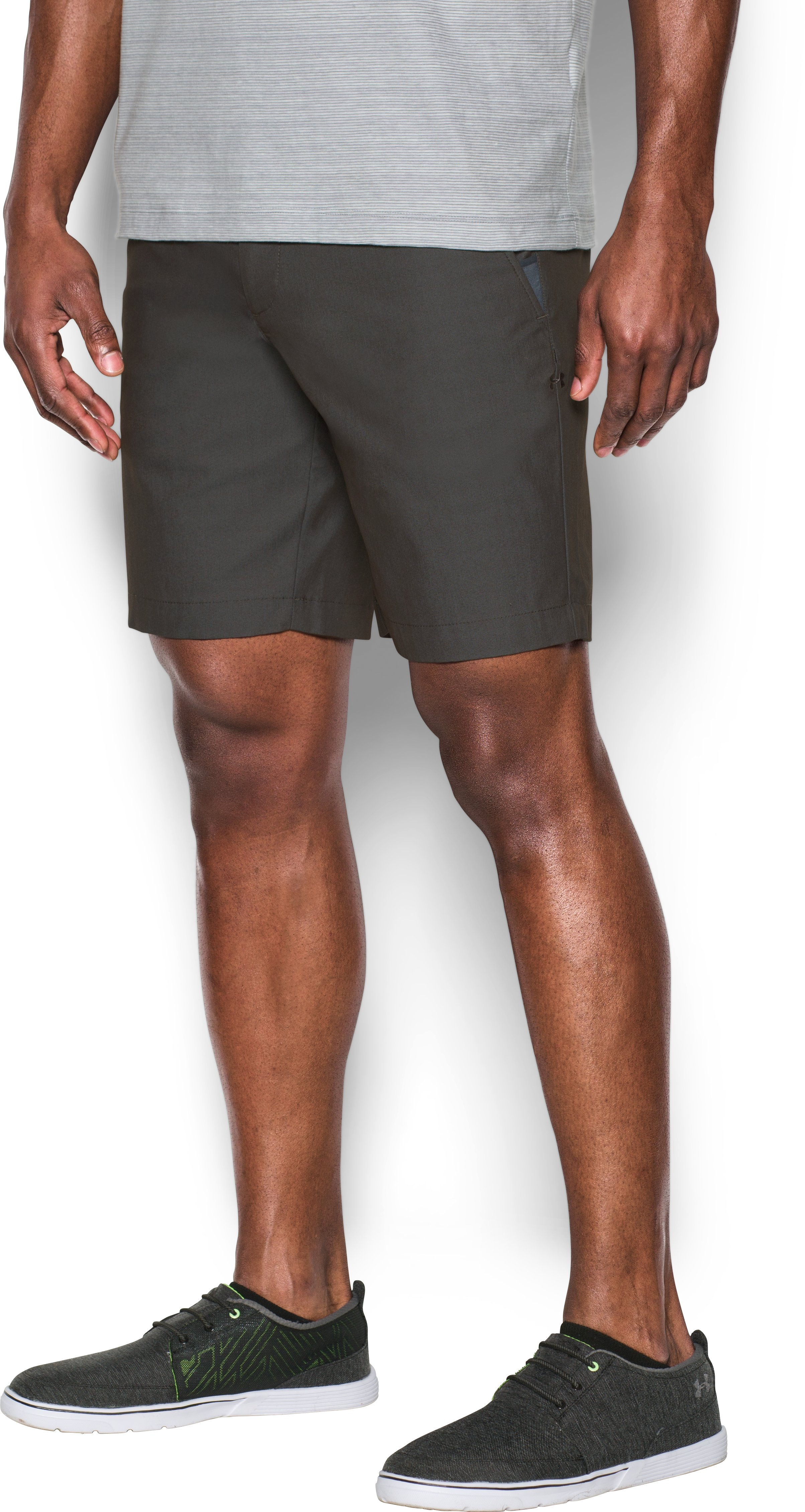 Men's UA Performance Chino Textured Shorts, Carbon Heather, zoomed image