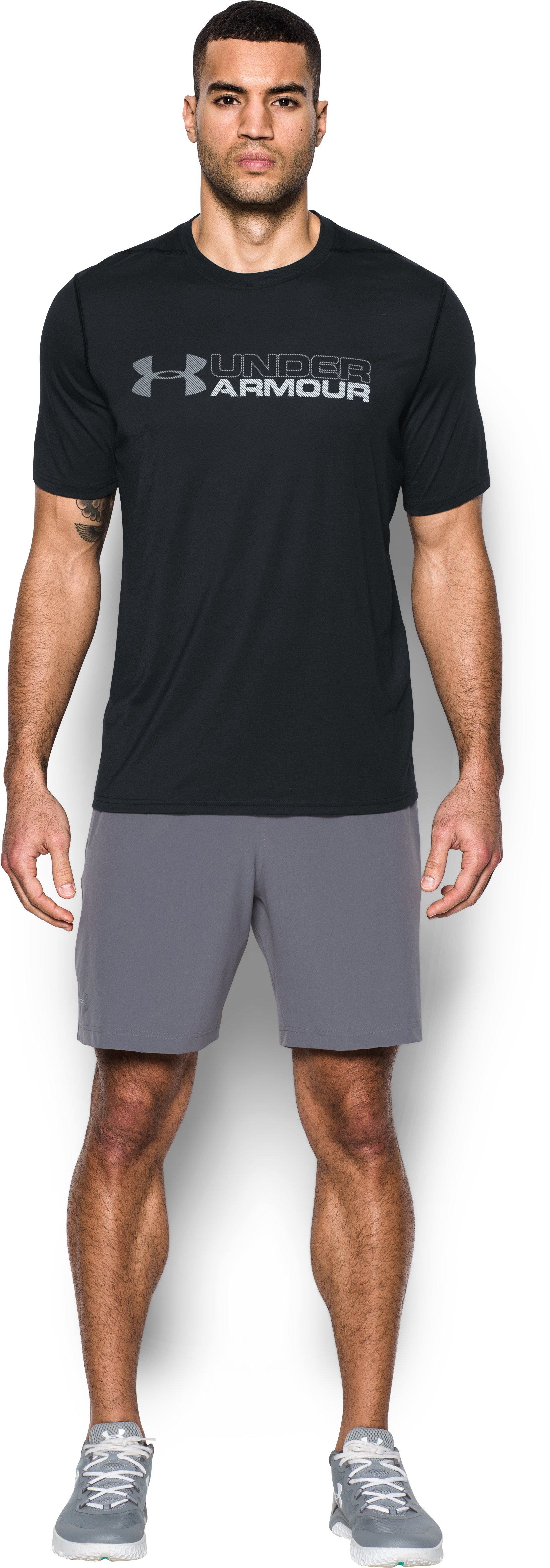 Men's UA Threadborne Wordmark T-Shirt, Black , Front