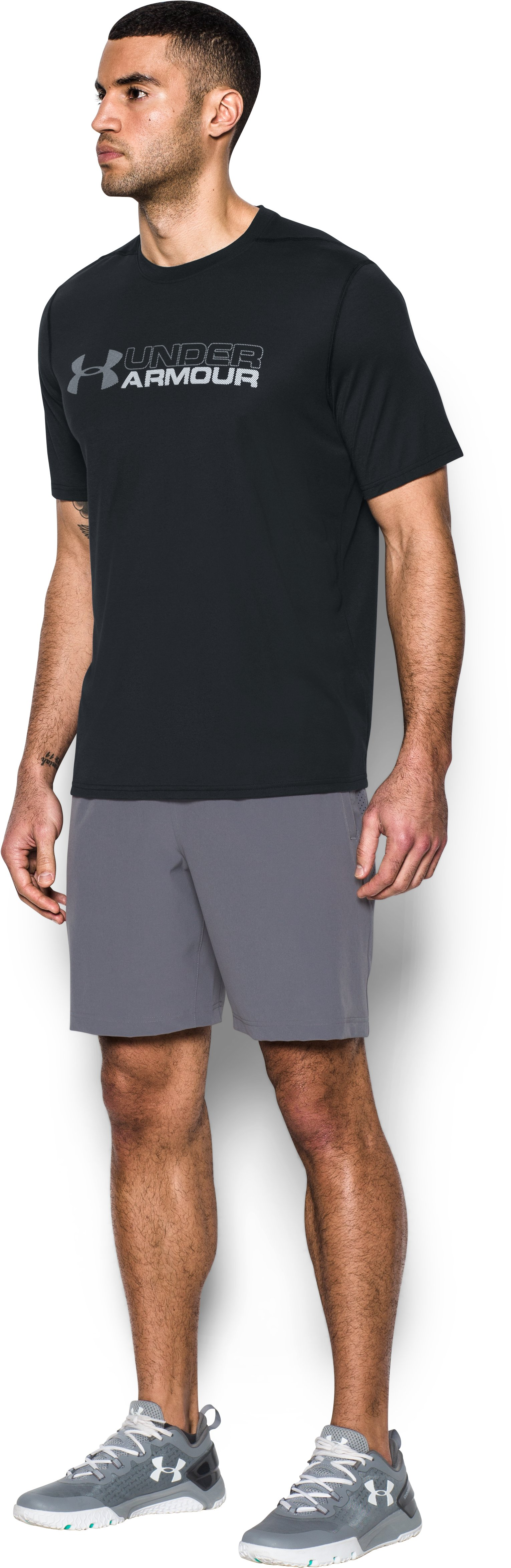 Men's UA Threadborne Wordmark T-Shirt, Black ,