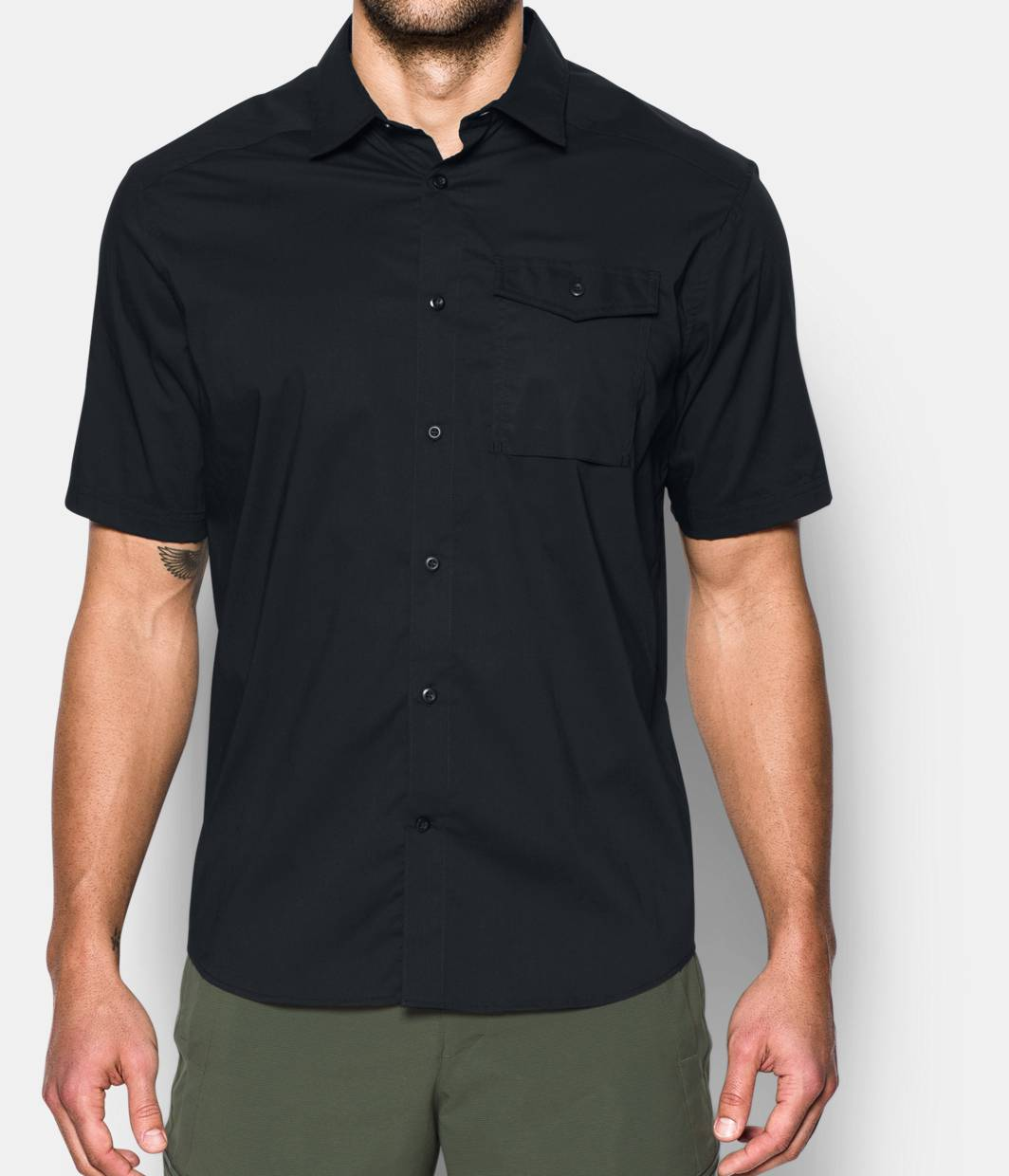 Black t shirt under button down - Men S Ua Tactical Button Down Short Sleeve 3 Colors 74 99