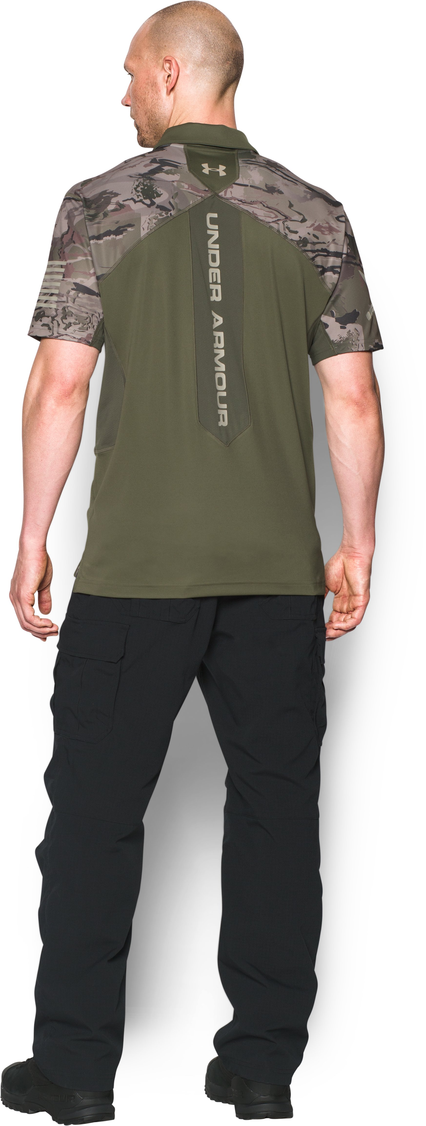 Men's UA Tactical Sub Range Polo, Marine OD Green, Back