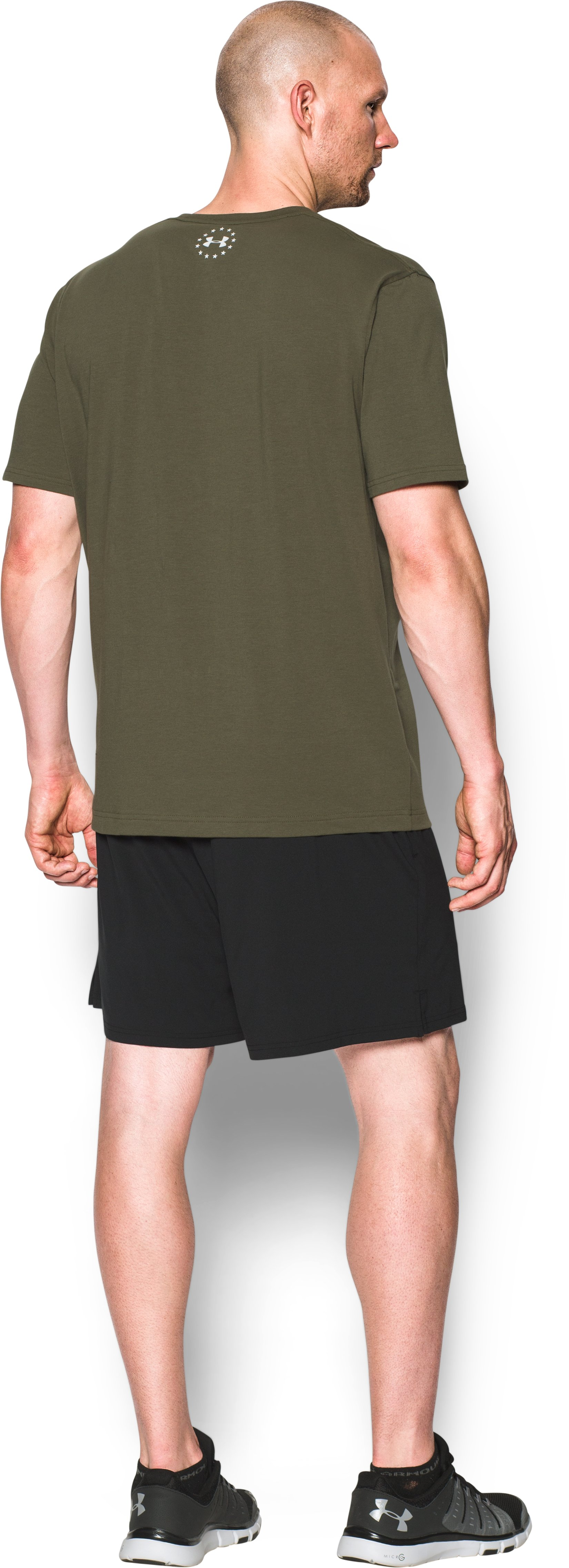Men's UA Freedom Spartan T-Shirt, Marine OD Green, Back