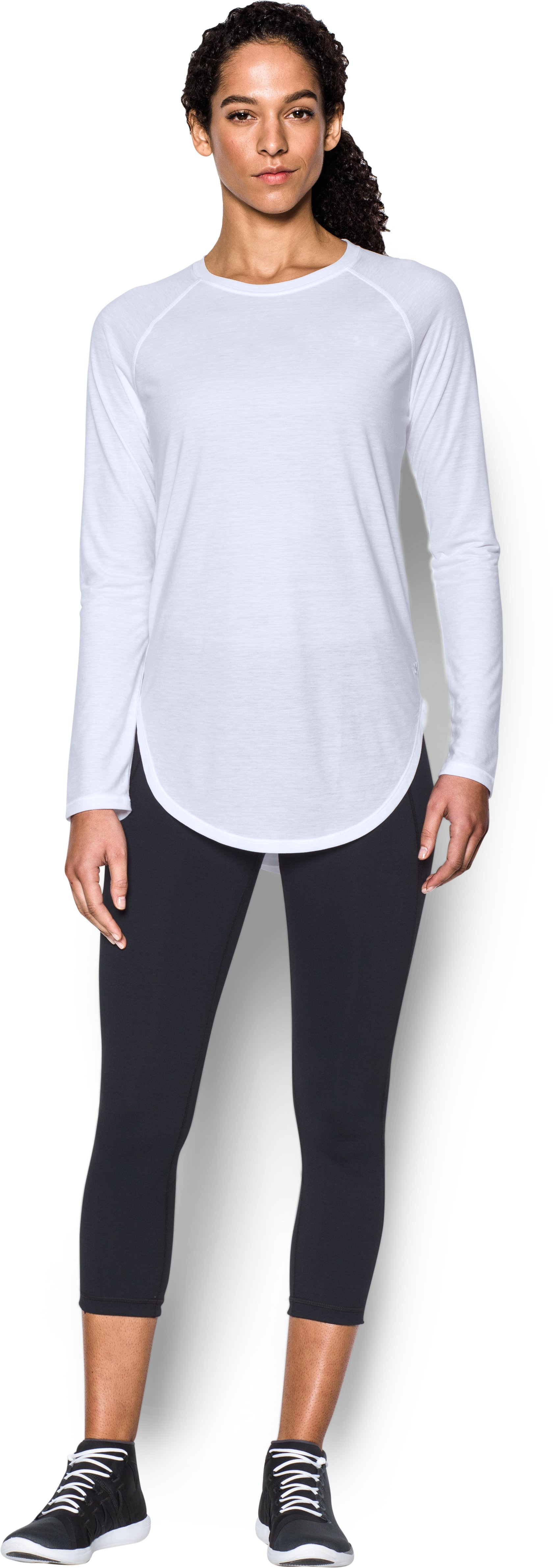 Women's UA Breathe Open Back Long Sleeve, White, Front
