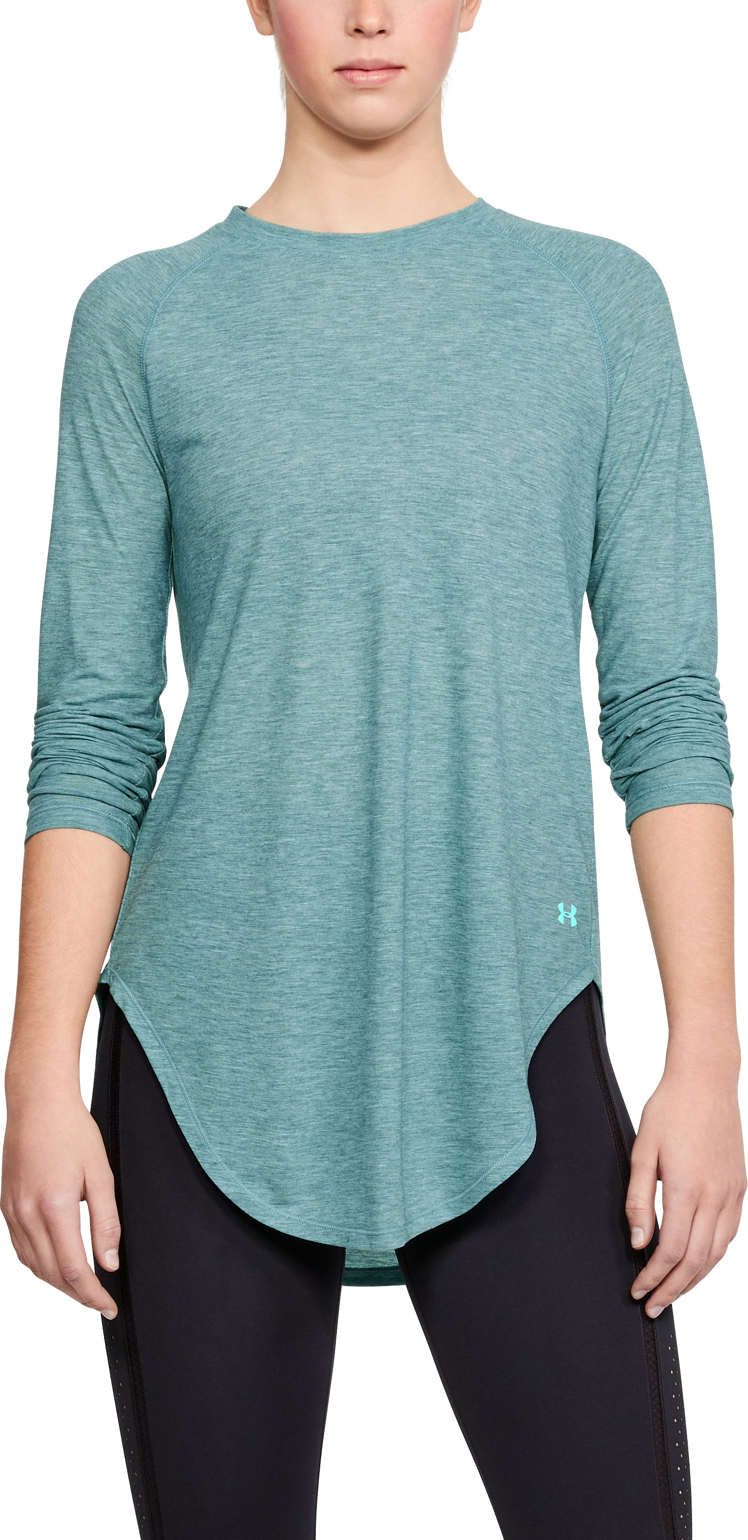 Women's UA Breathe Open Back Long Sleeve, TOURMALINE TEAL FADE HEATHER,