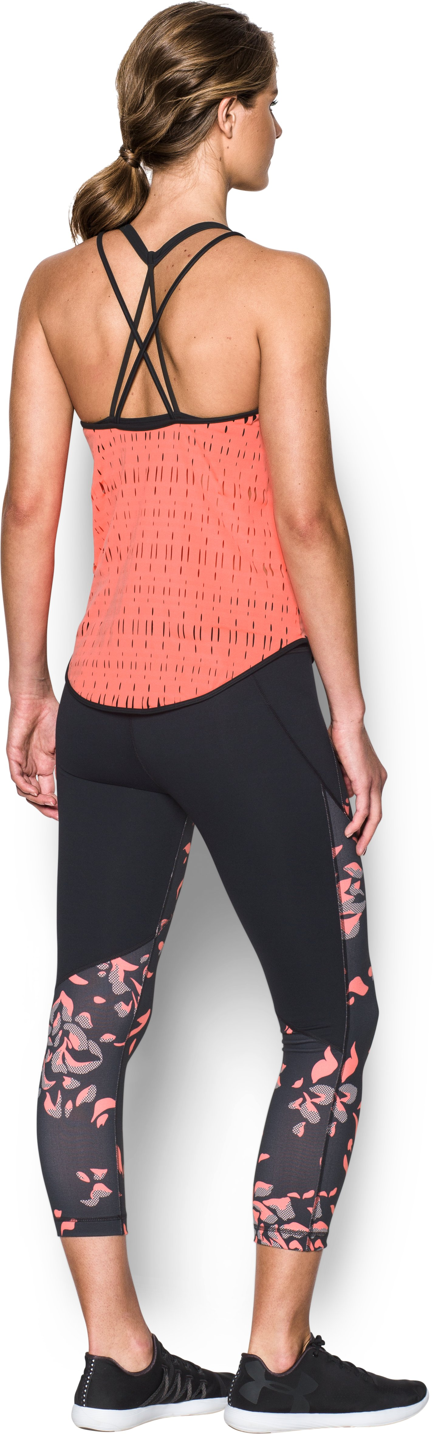 Women's UA Ladder Mesh Tank, LONDON ORANGE, Back