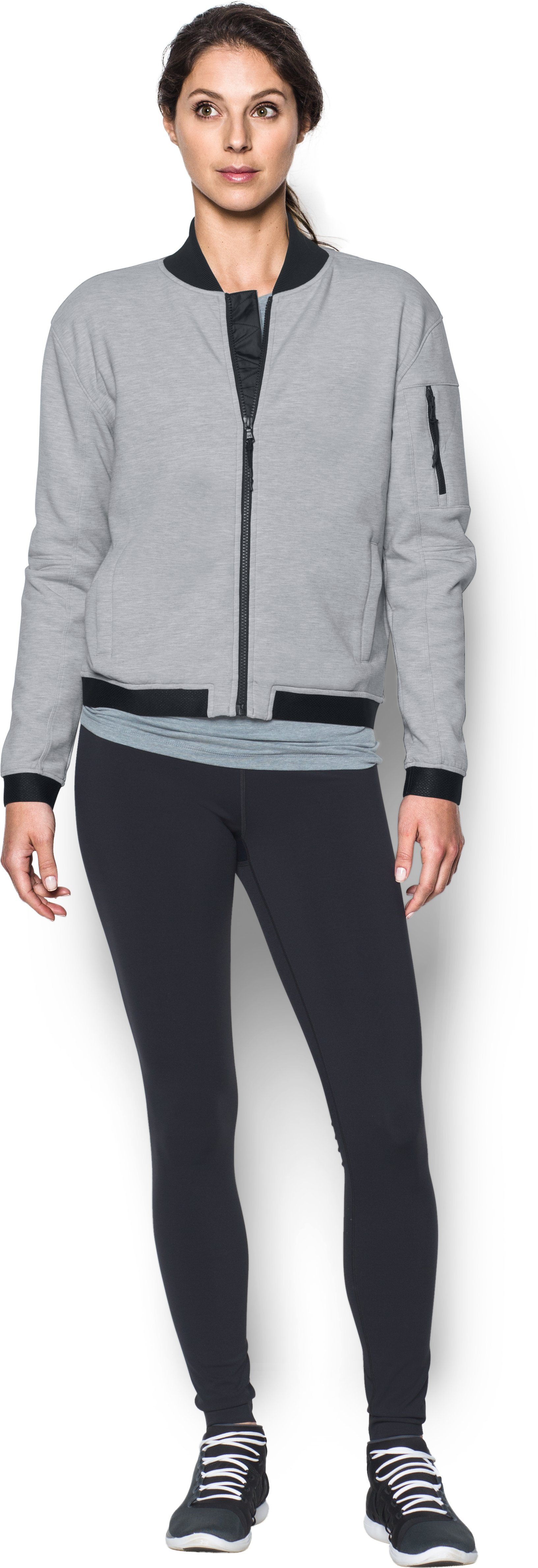 Women's UA Luster Bomber, True Gray Heather, Front