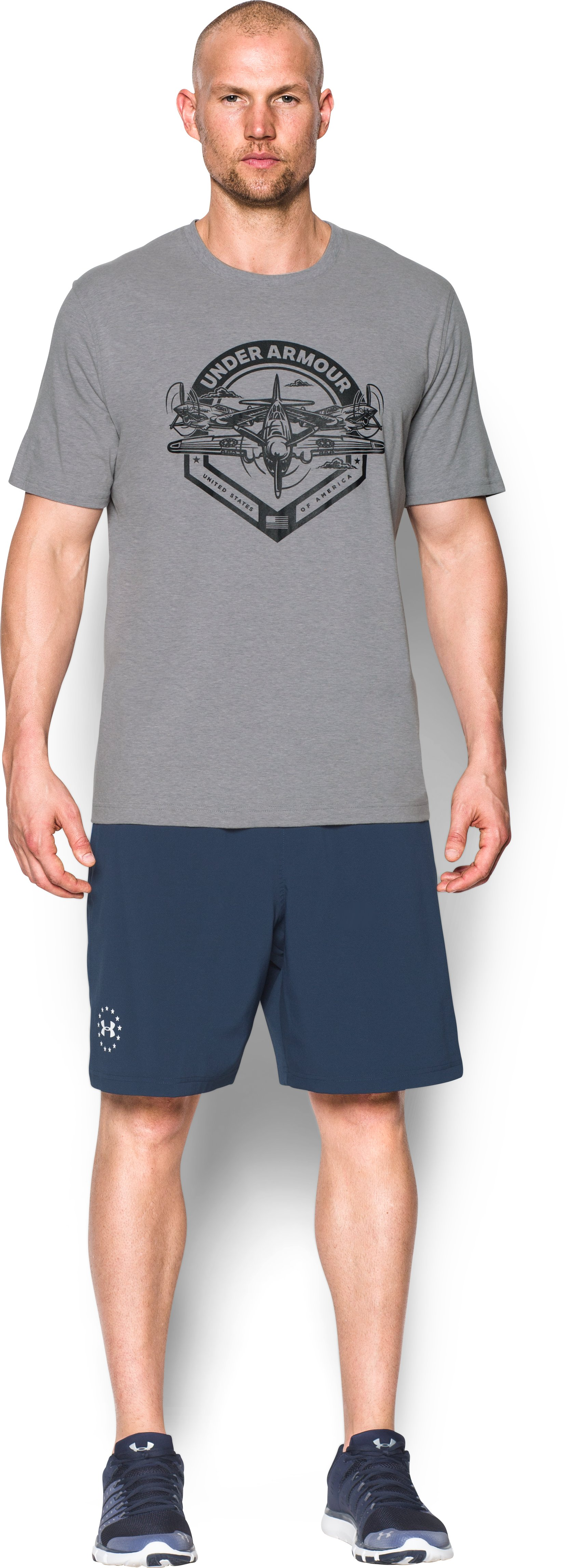 Men's UA Freedom By Air T-Shirt, True Gray Heather, Front