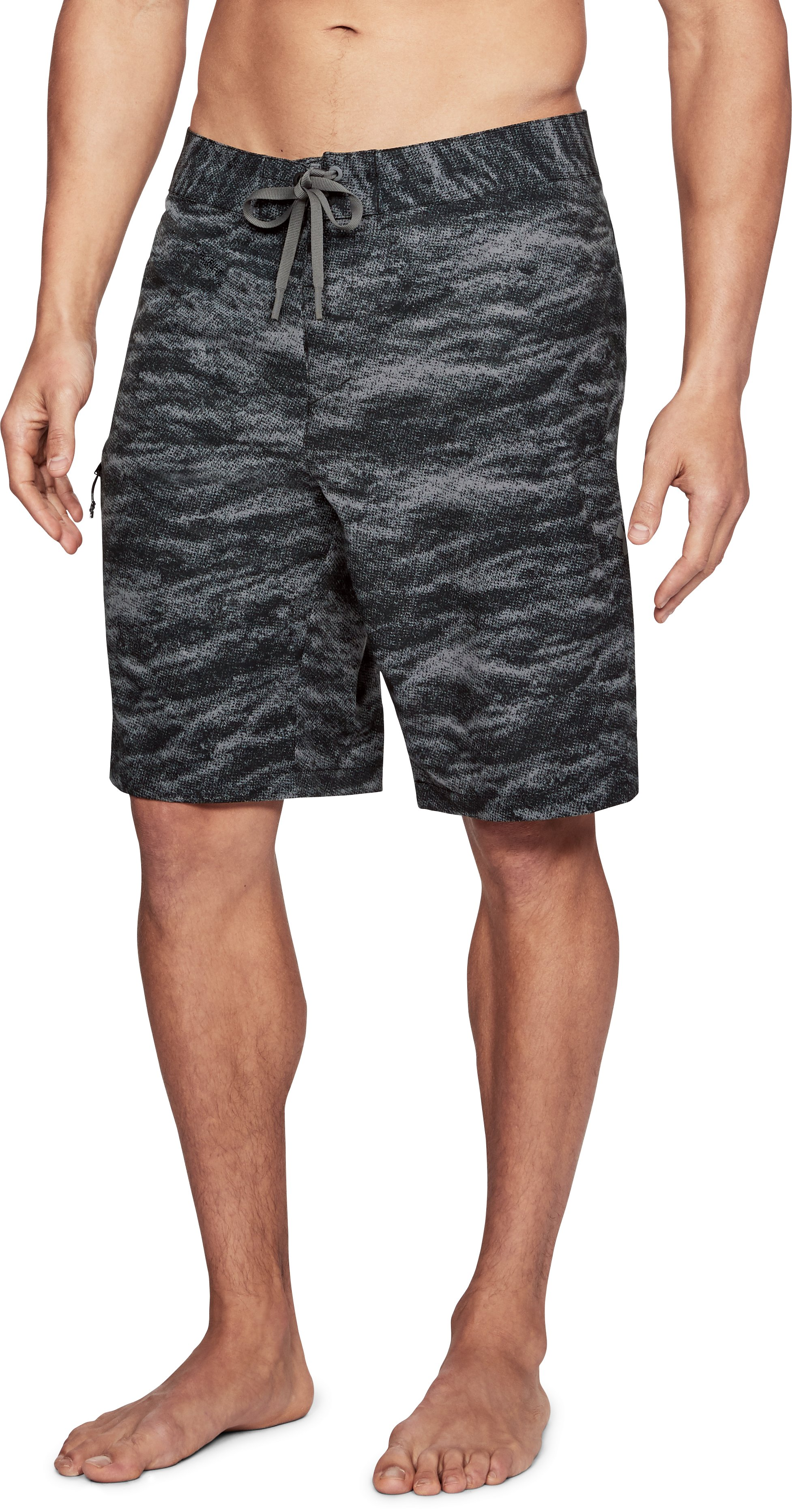 Men's UA Stretch Printed Boardshorts, Black ,