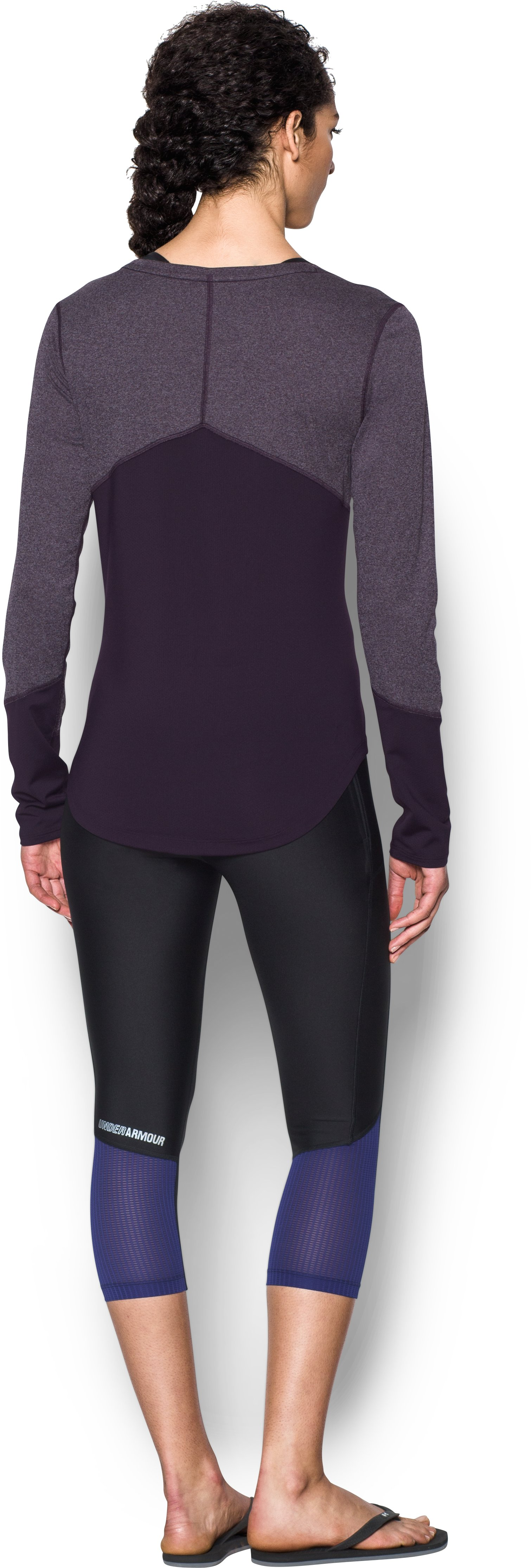 Women's UA CoolSwitch Thermocline Long Sleeve, IMPERIAL PURPLE, Back