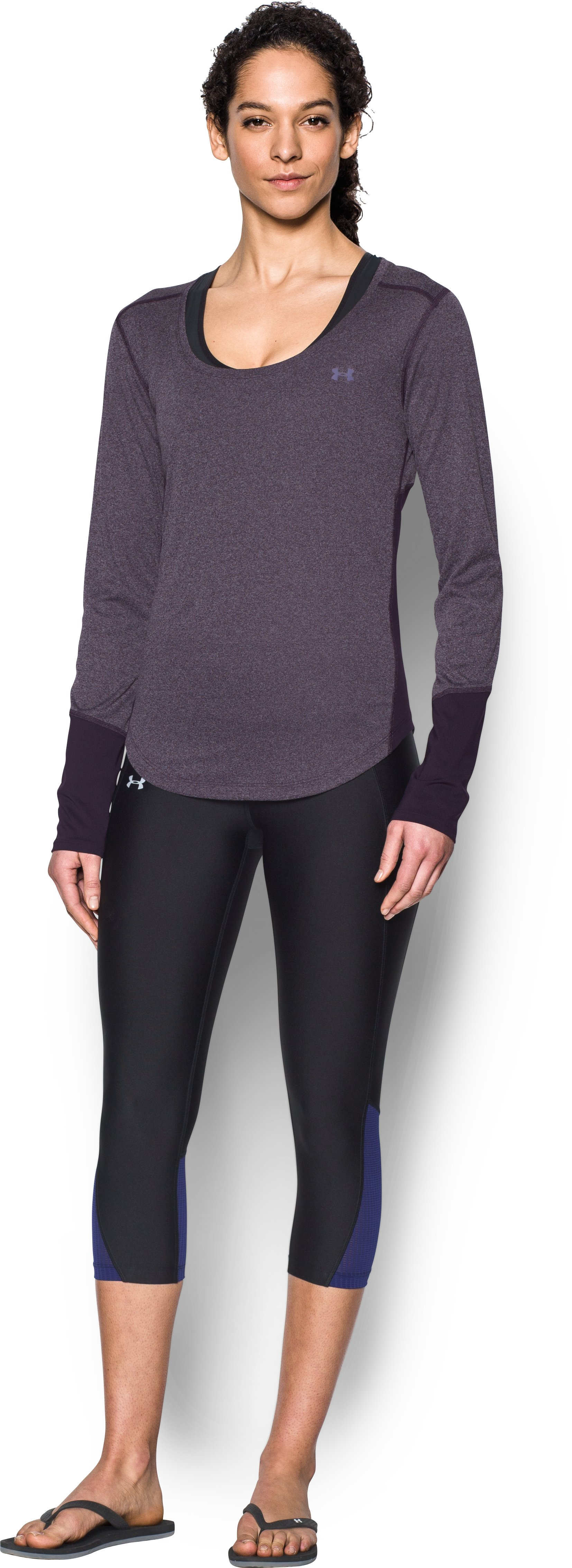 Women's UA CoolSwitch Thermocline Long Sleeve, IMPERIAL PURPLE, Front