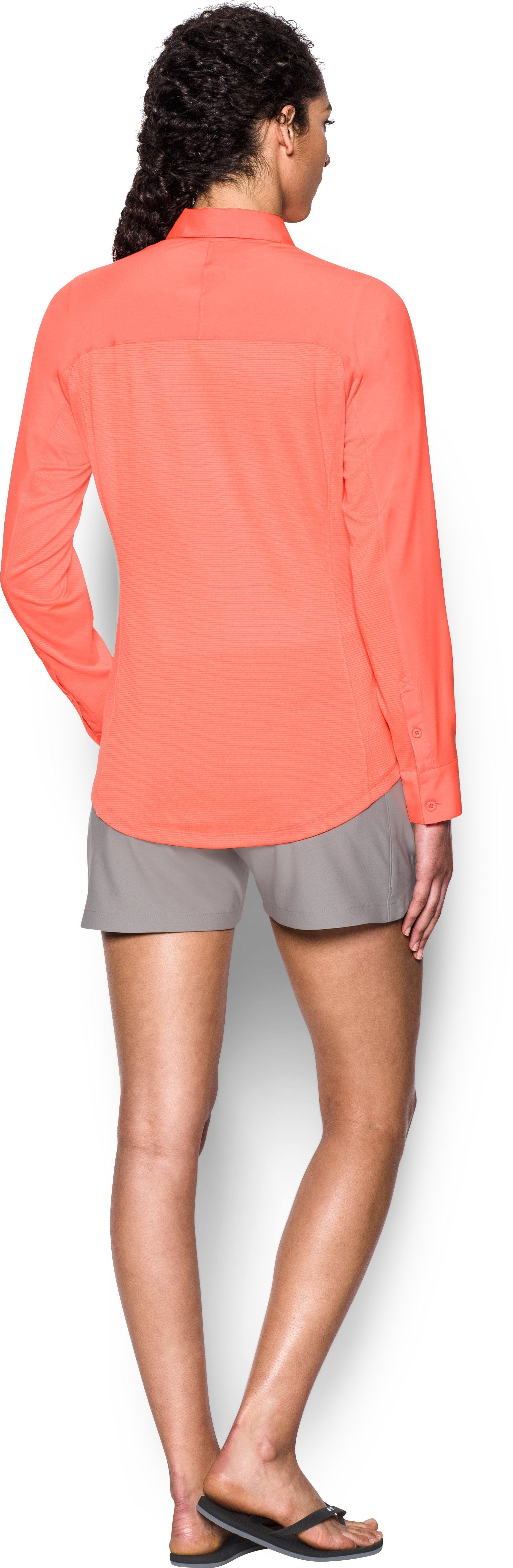 Women's UA Tide Chaser Hybrid Long Sleeve, LONDON ORANGE, Back